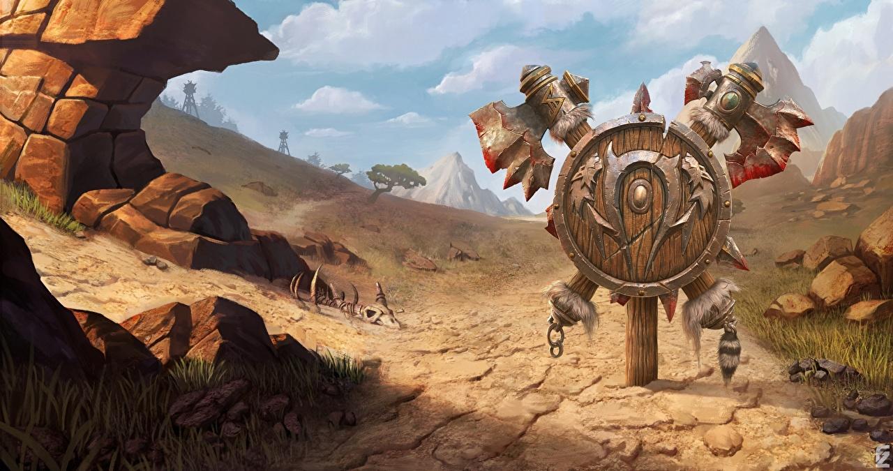 Картинка WoW щиты с топором 3: Reforged компьютерная игра World of WarCraft Щит с щитом Боевые топоры / Секиры Игры