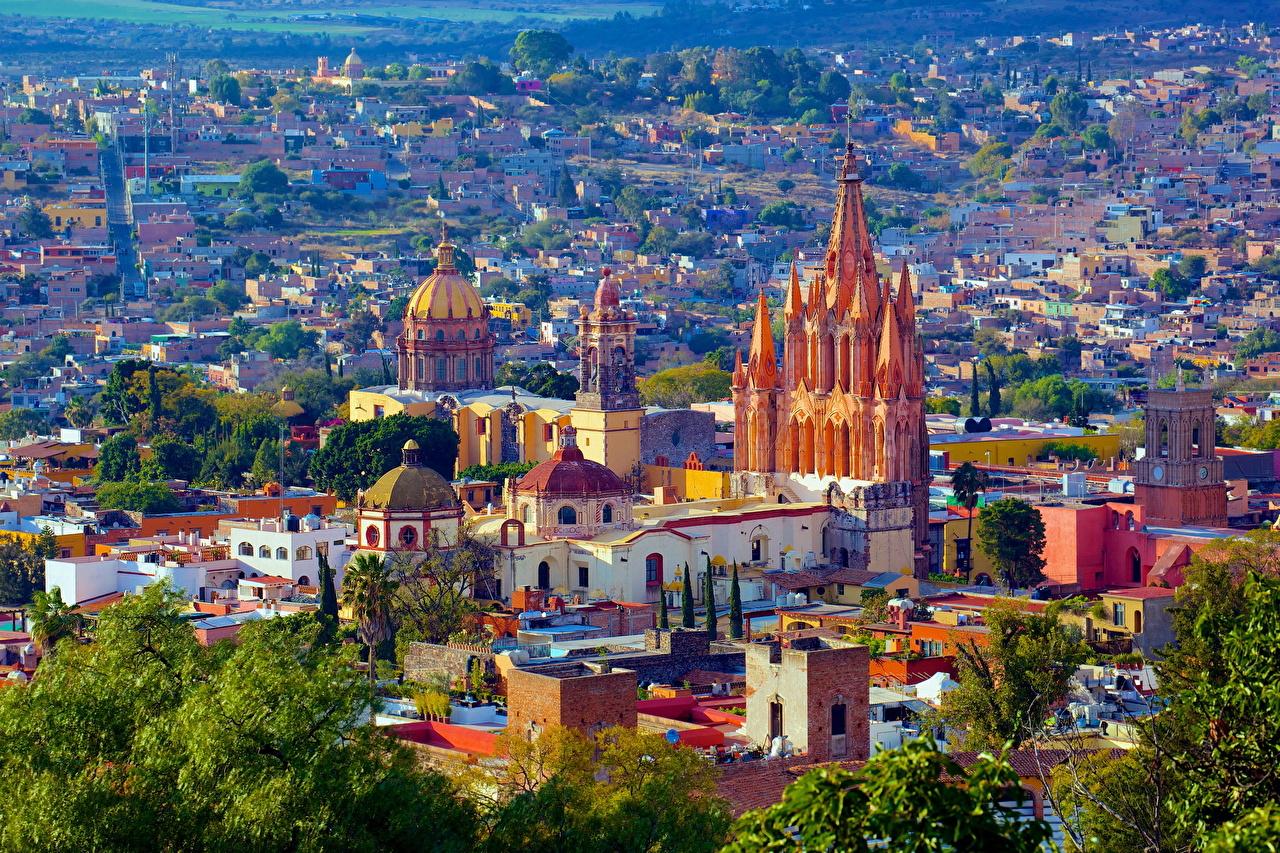 Фотография Мексика San Miguel de Allende Дома Города город Здания