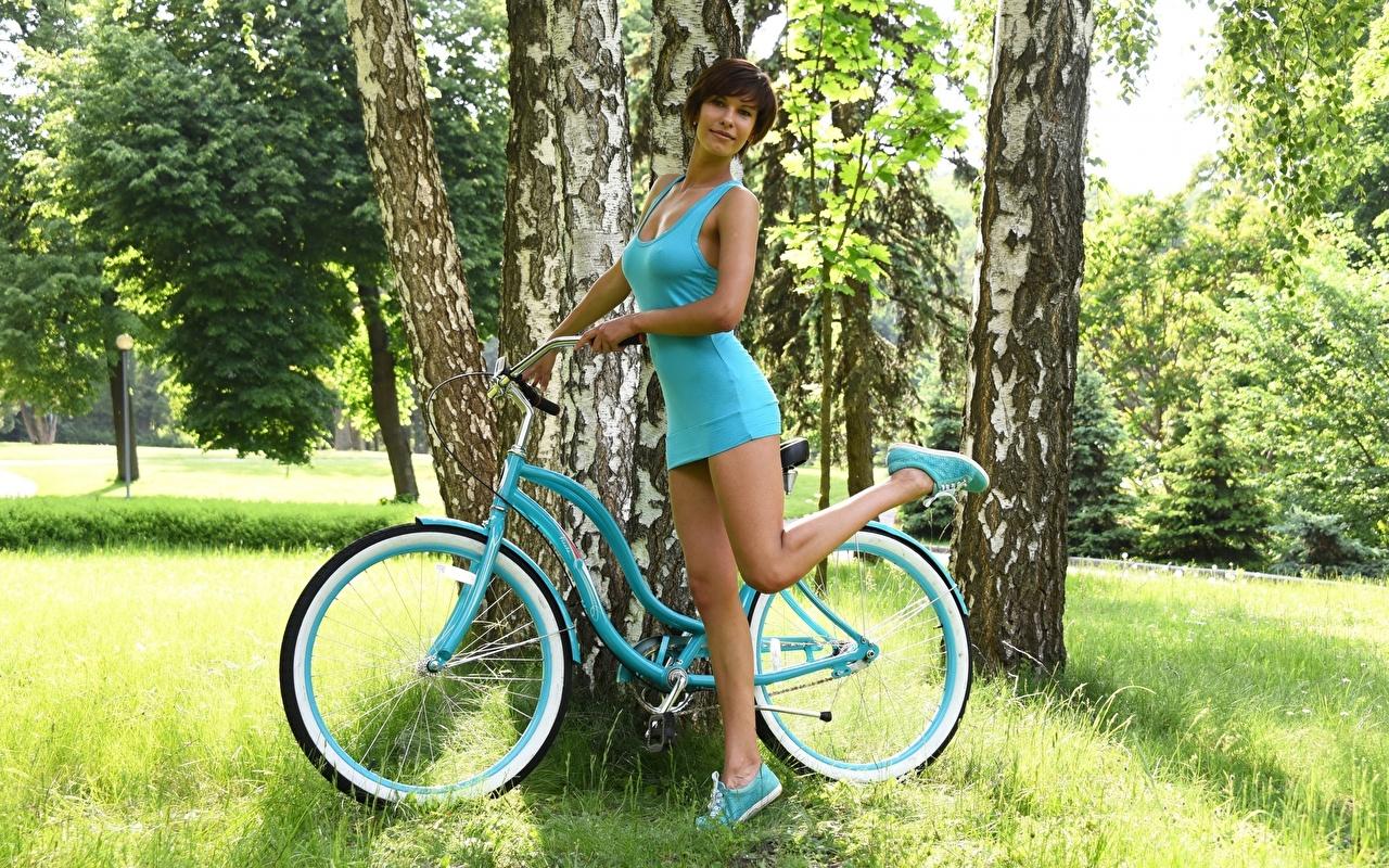 Фотография брюнеток Поза велосипеде Березы молодая женщина ног рука траве Платье брюнетки Брюнетка позирует Велосипед велосипеды береза девушка Девушки молодые женщины Ноги Руки Трава платья