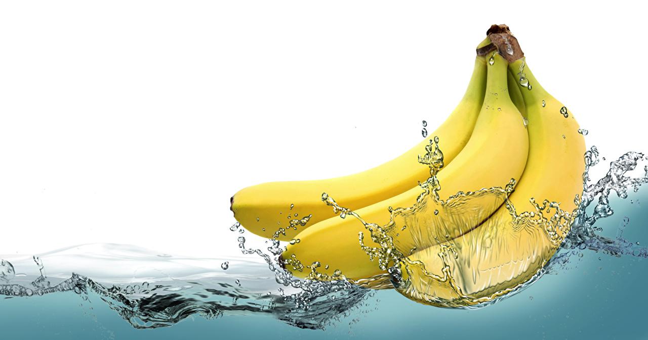 Фотографии Брызги Бананы Пища Вода Еда Продукты питания