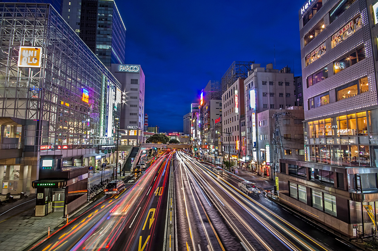 Фотографии Япония Sendai улице Дороги Вечер Города Здания улиц Улица Дома