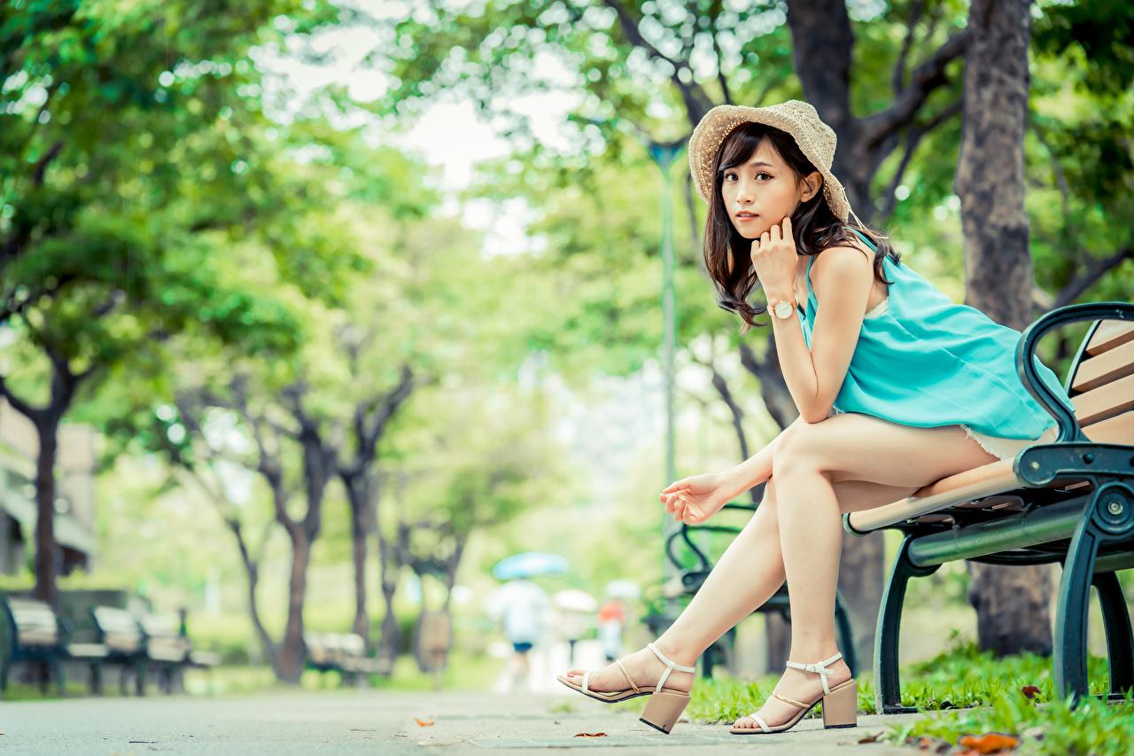 Фотография Шатенка боке шляпы молодая женщина Ноги азиатка сидя Скамейка Взгляд шатенки Размытый фон Шляпа шляпе Девушки девушка молодые женщины ног Азиаты азиатки Сидит Скамья сидящие смотрят смотрит