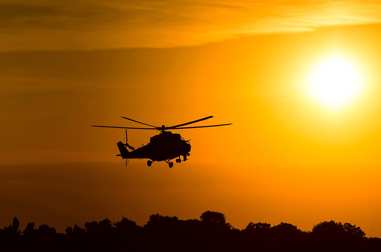 Фотография Вертолеты российские Силуэт Mil Mi-24 Авиация вертолет Русские силуэты силуэта