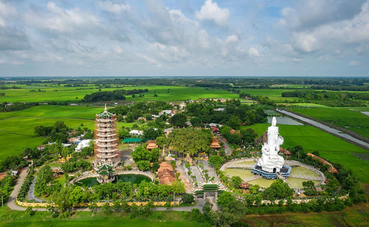 Фото Вьетнам Go Ken Pagoda Tay Ninh Поля Пагоды Храмы Сверху Города храм город