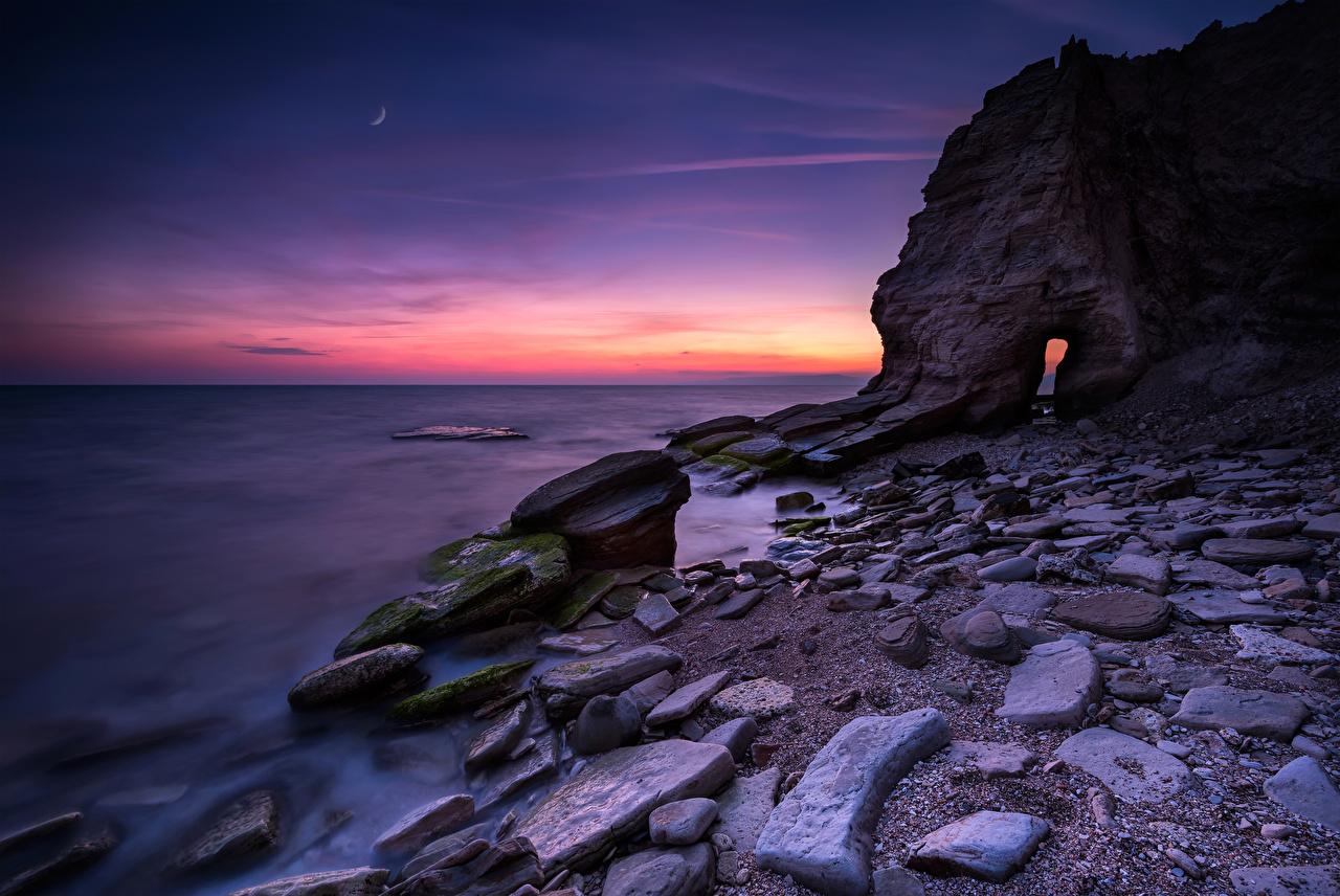 Фото Болгария Black Sea coast скале Природа рассвет и закат Камень Побережье Утес скалы Скала Рассветы и закаты Камни берег