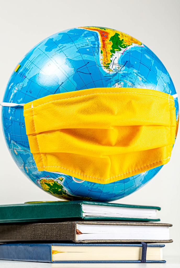 Картинки Коронавирус глобусом Маски Книга Серый фон  для мобильного телефона Глобус глобусы книги сером фоне