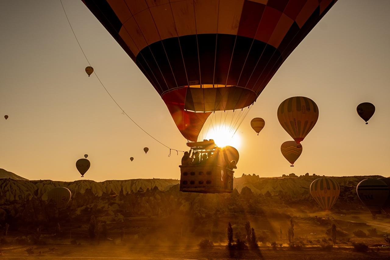 Фото аэростат Рассветы и закаты Полет Воздушный шар рассвет и закат летят летит летящий