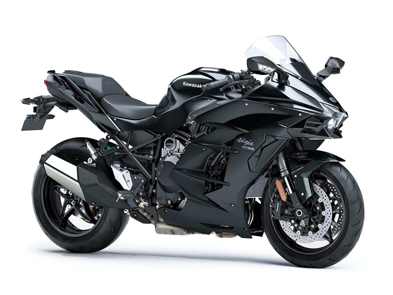 Картинки Kawasaki Ninja H2 SX, 2018 черные мотоцикл Белый фон Кавасаки черная Черный черных Мотоциклы белом фоне белым фоном