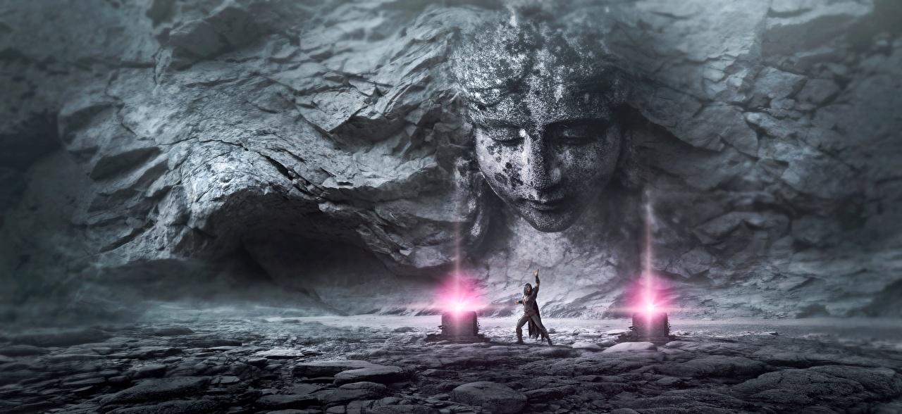 Фотографии чародей волшебство Лицо Фэнтези 3D Графика стенка Камень Магия Колдун Маг волшебник Фантастика Стена Камни