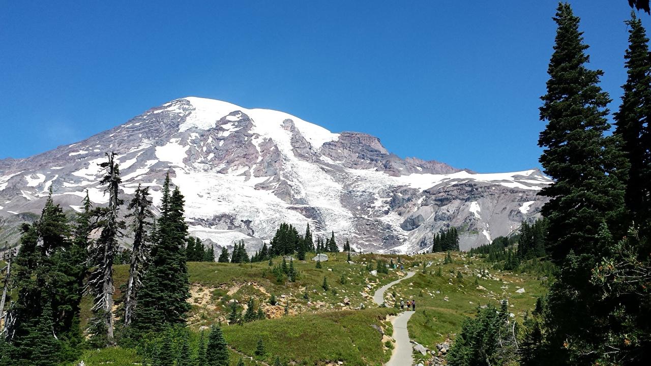 Обои Вашингтон США Mount Rainier National Park Горы Природа тропинка Снег штаты Тропа