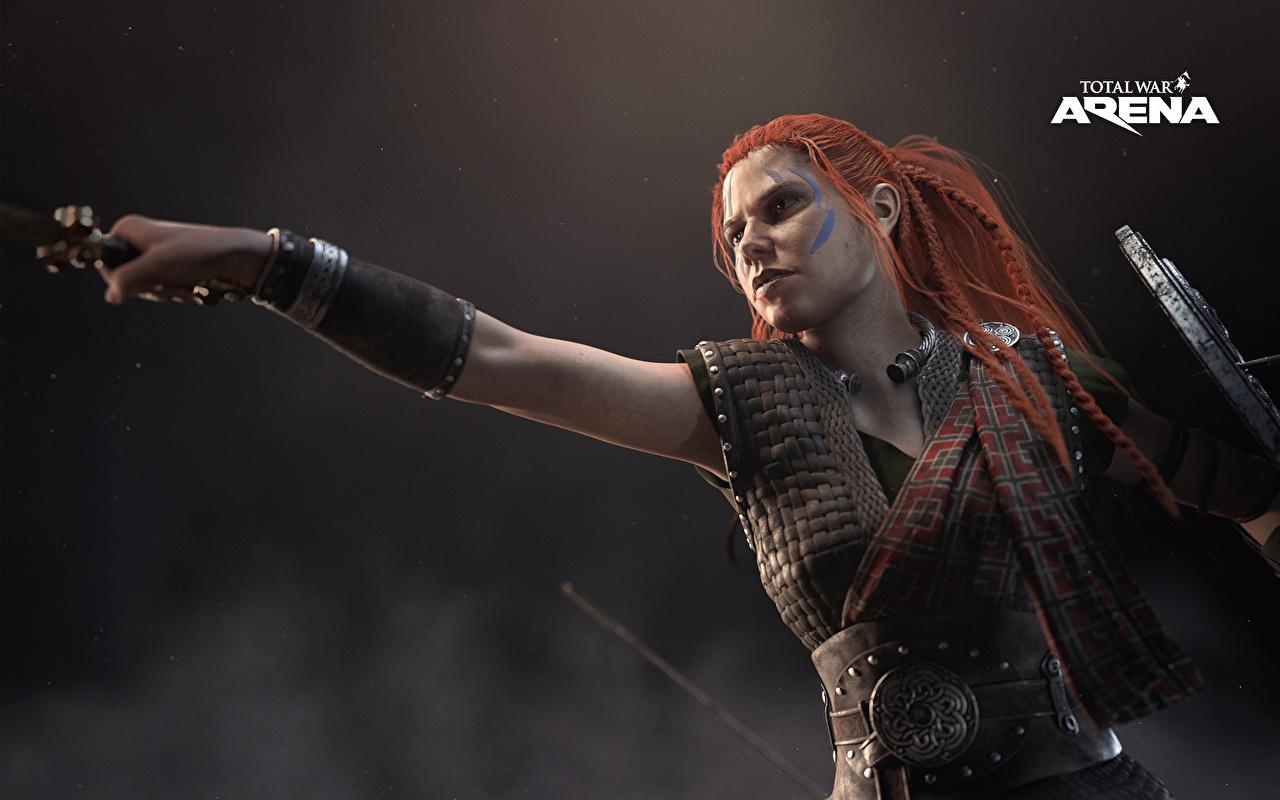 Фото Total War: Arena Рыжая Воители Девушки Игры воины