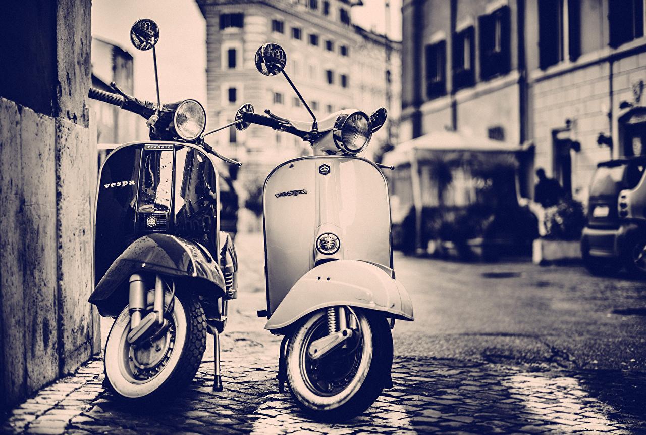 Картинка Скутер Vespa мотоцикл Мотороллер Мотоциклы