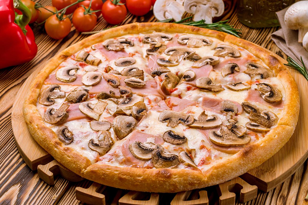 Картинки Пицца Грибы Фастфуд Продукты питания Быстрое питание Еда Пища