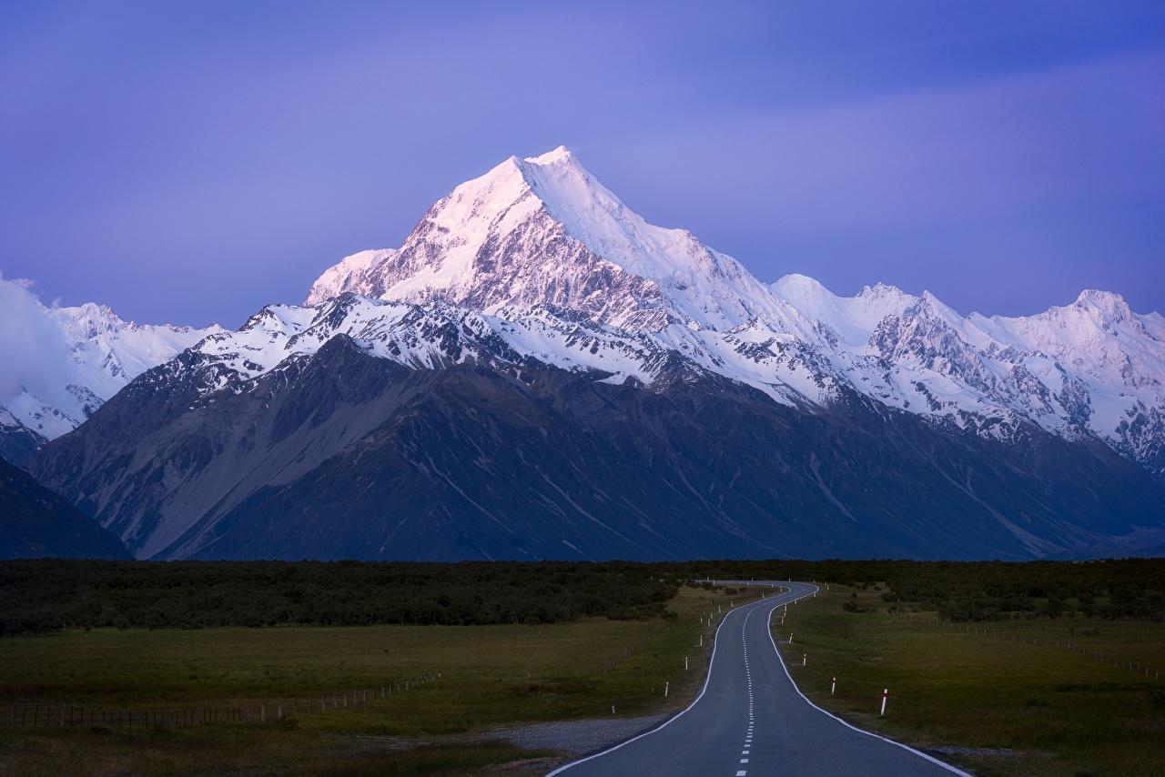 Обои для рабочего стола Новая Зеландия Mount Cook гора Природа Дороги Горы