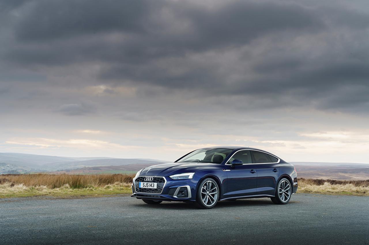 Фотография Audi A5 Sportback 40 TFSI S line, UK-spec, 2020 синяя машина Металлик Ауди Синий синие синих авто машины Автомобили автомобиль