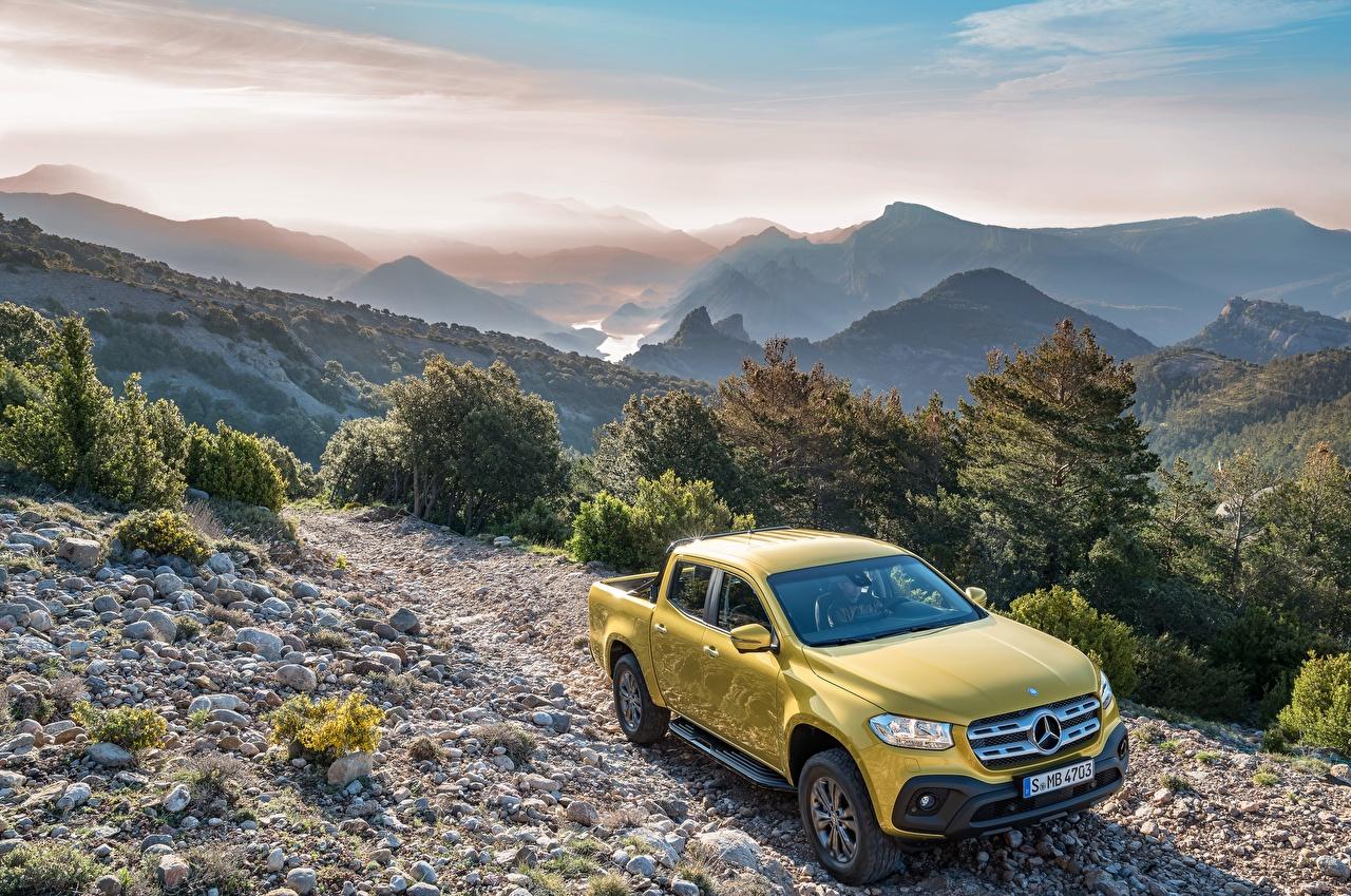 Картинки Мерседес бенц 2017 X-Klasse Progressive Worldwide Пикап кузов Желтый машина Металлик Mercedes-Benz желтая желтые желтых авто машины Автомобили автомобиль