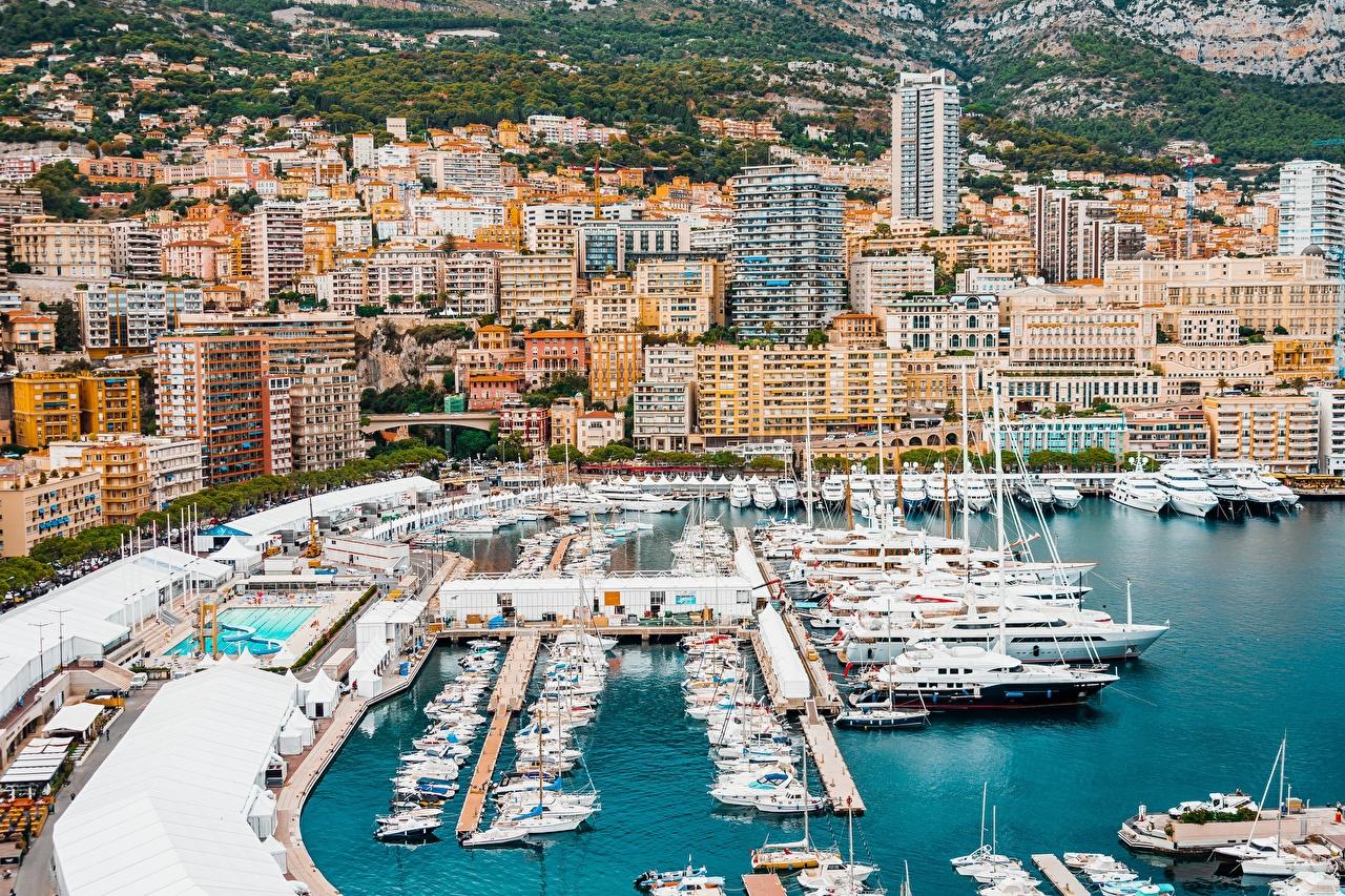 Фотографии Монте-Карло Монако Яхта Залив Причалы Города Здания Пирсы залива заливы Пристань Дома город