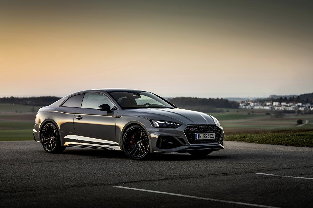Картинка Audi RS5 Coupe, 2020 Купе Серый Вечер Металлик Автомобили Ауди серая серые авто машины машина автомобиль