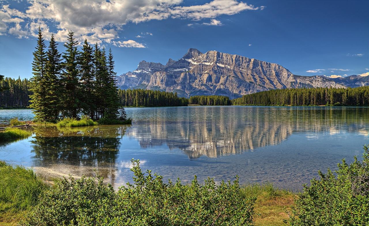 Фото Канада canadian Rocky mountains ели Горы Природа парк Озеро Ель гора Парки