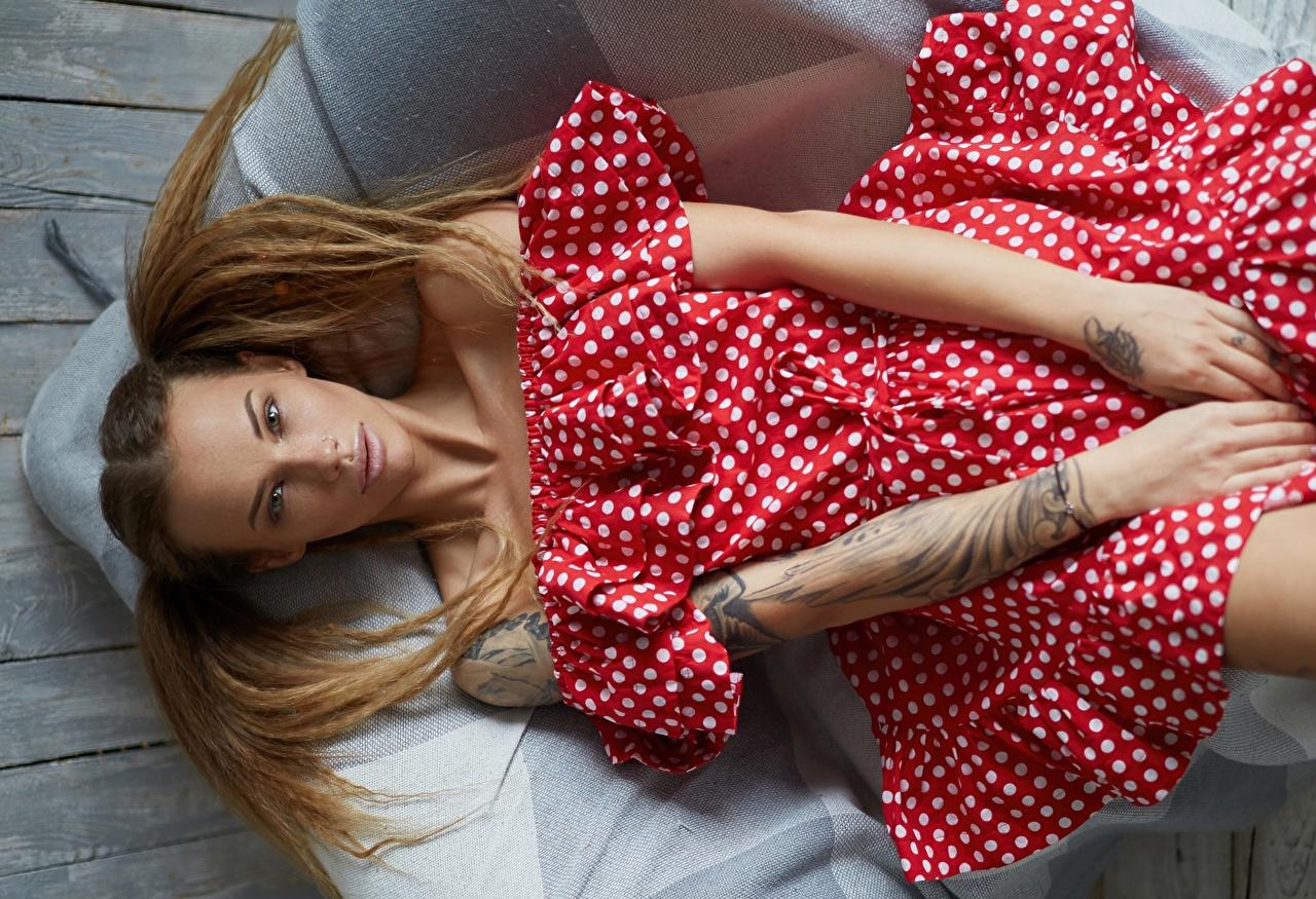 Обои для рабочего стола Модель Лежит Veronika Wonka позирует прически Волосы Девушки рука платья фотомодель лежа лежат лежачие Поза Причёска волос девушка молодые женщины молодая женщина Руки Платье