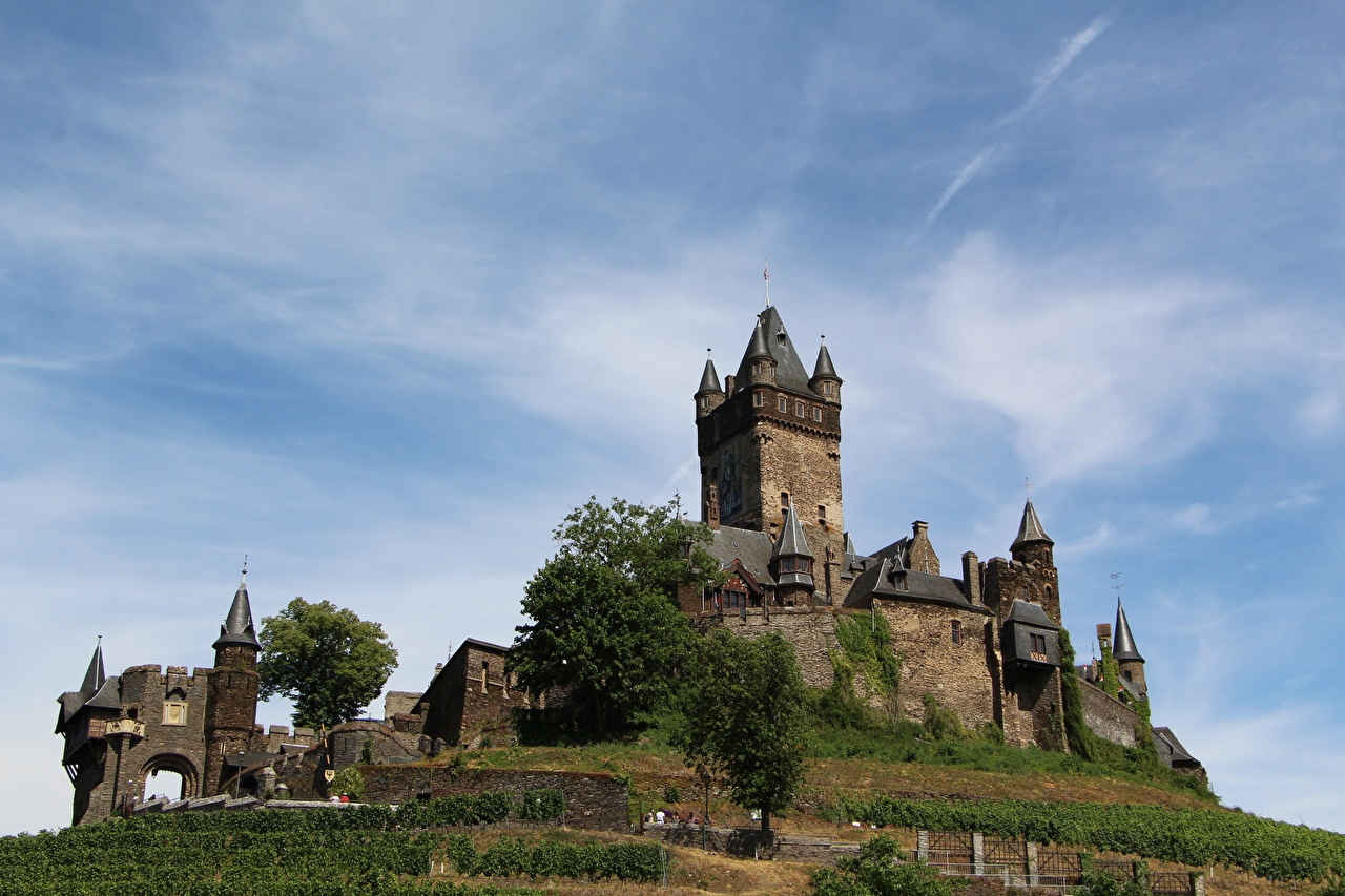 Картинка Кохем Германия Башня Rhineland-Palatinate замок город башни Замки Города