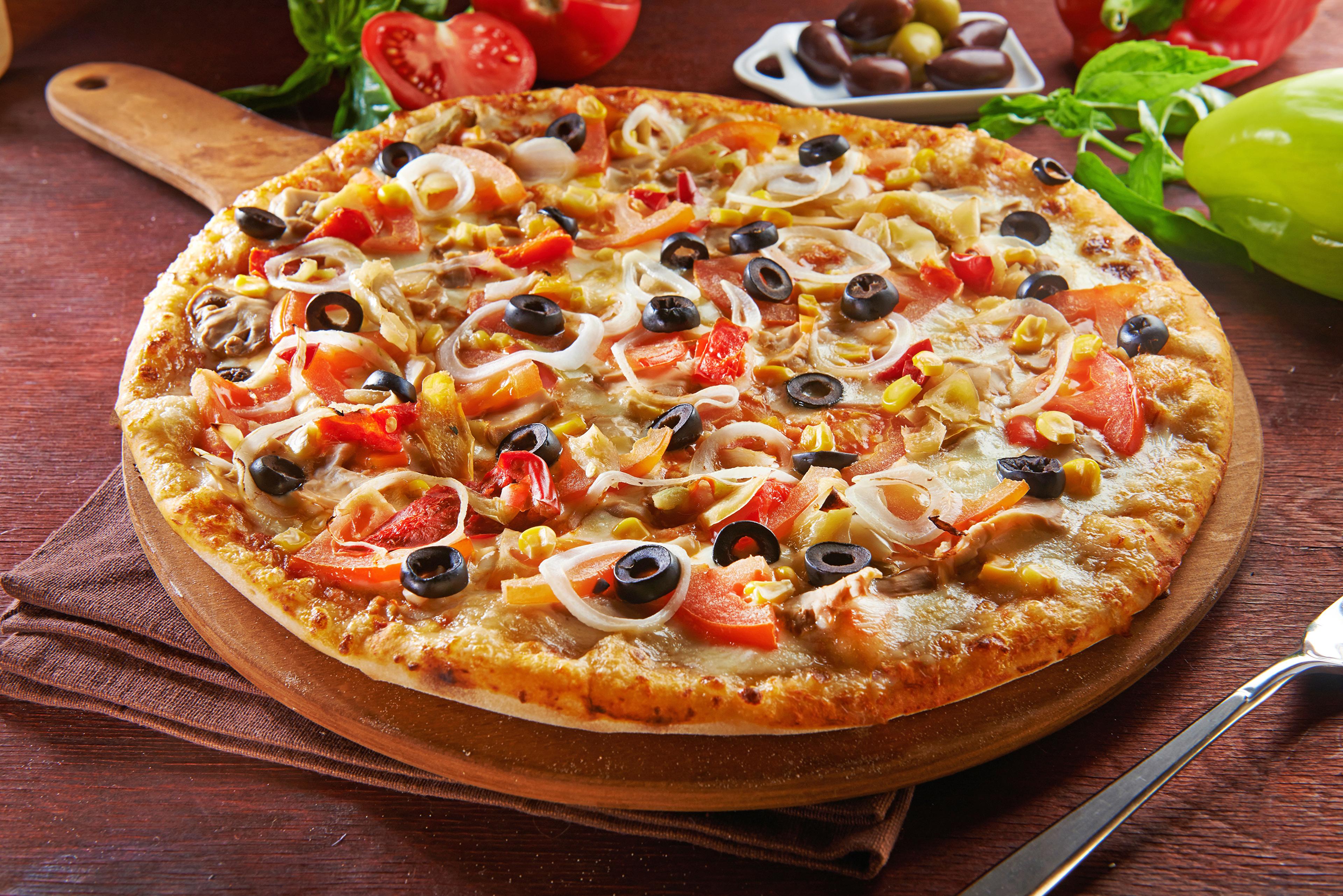 Картинки Пицца Оливки Фастфуд Еда