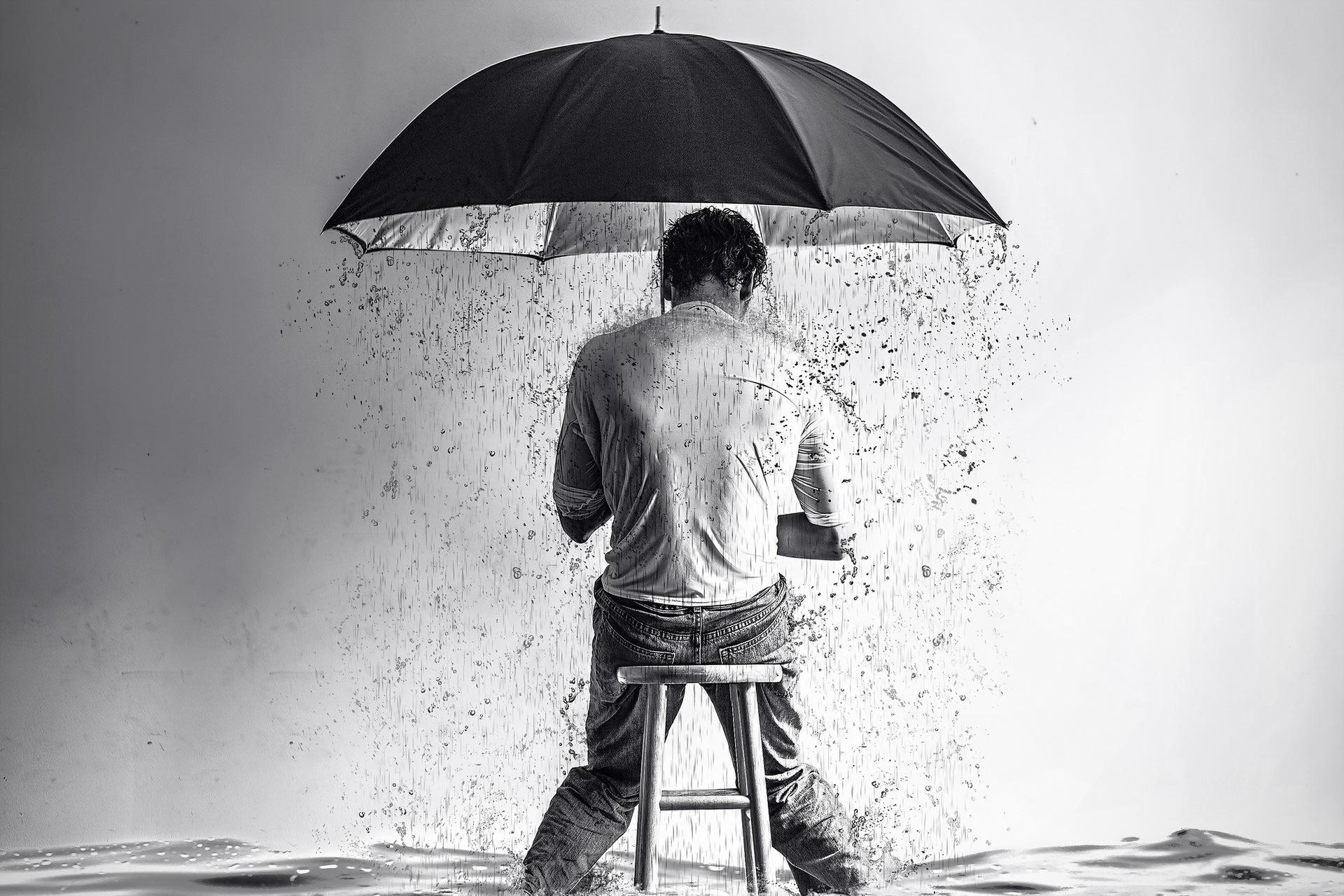 мужчина пристань зонт дождь скачать