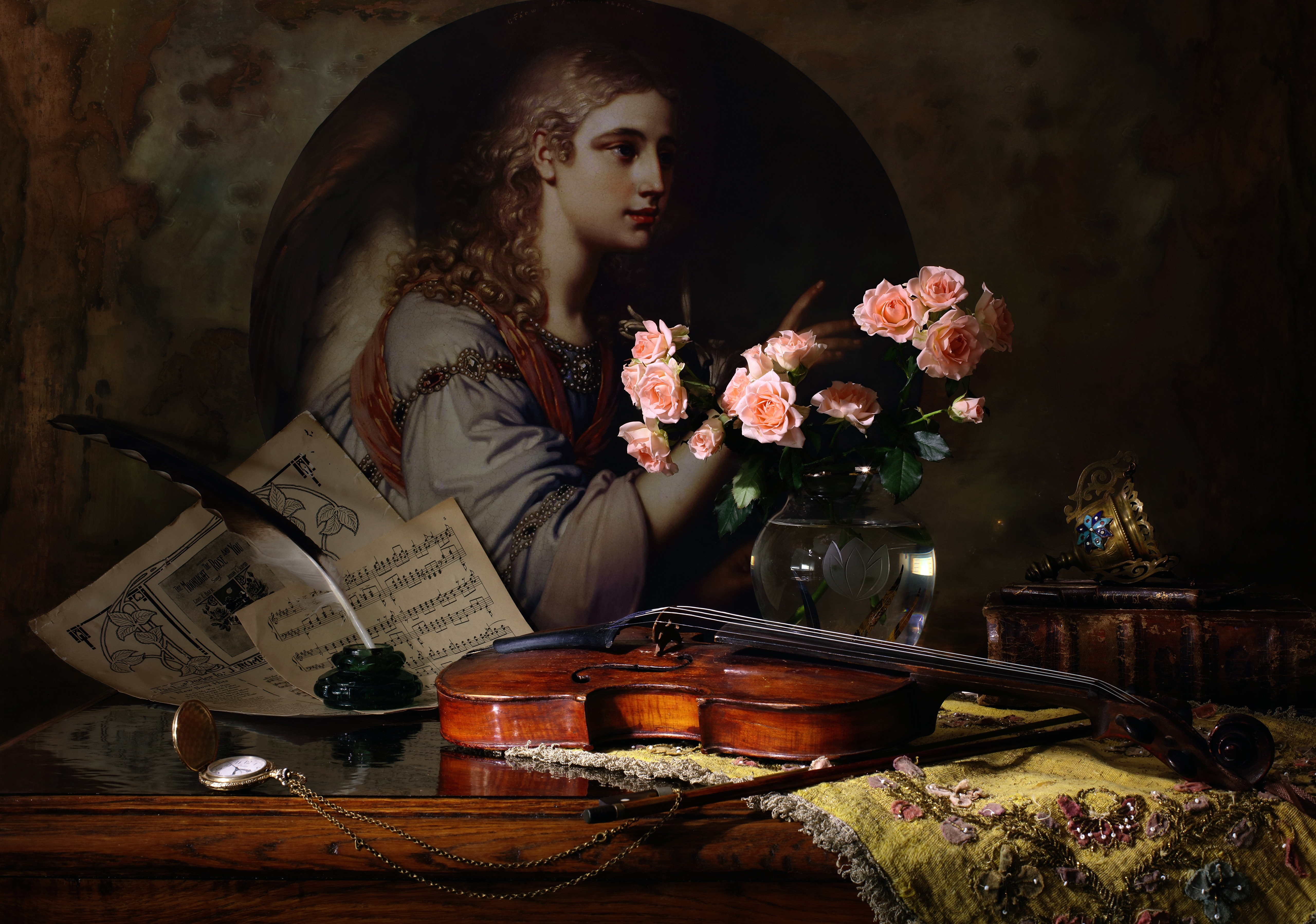 Картинка Скрипки Розы Перья Натюрморт 5120x3595 скрипка роза