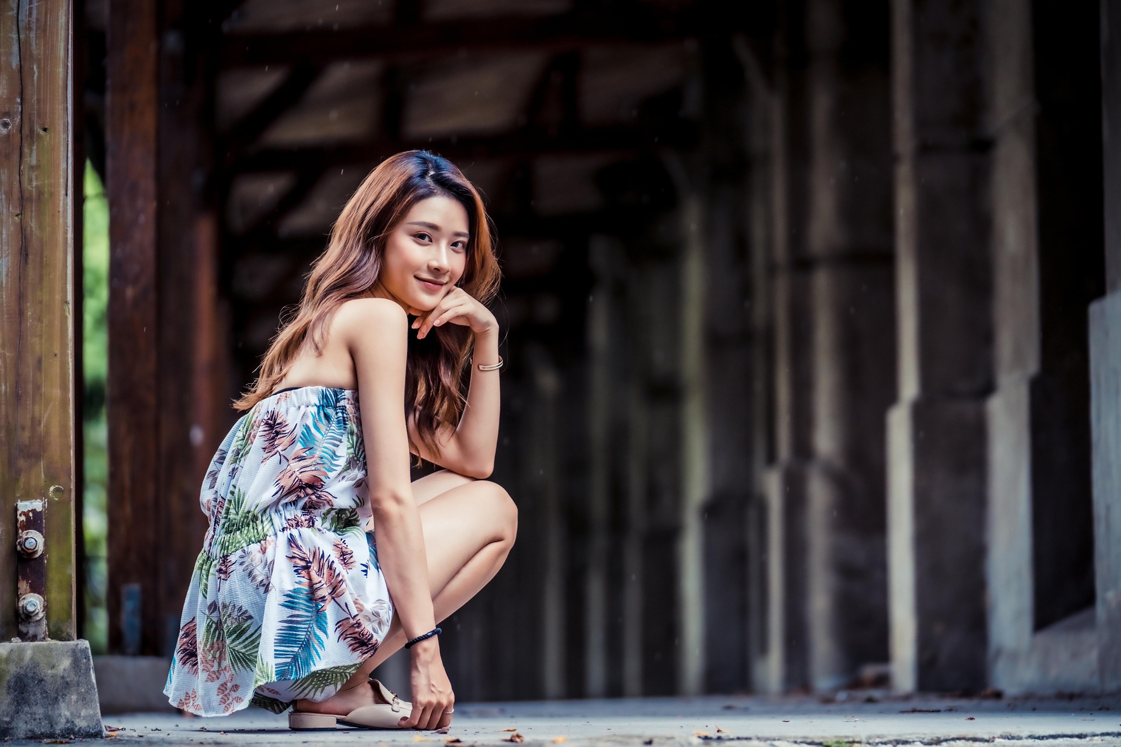 Обои для рабочего стола Улыбка молодая женщина Азиаты Сидит смотрят улыбается девушка Девушки молодые женщины азиатки азиатка сидя сидящие Взгляд смотрит