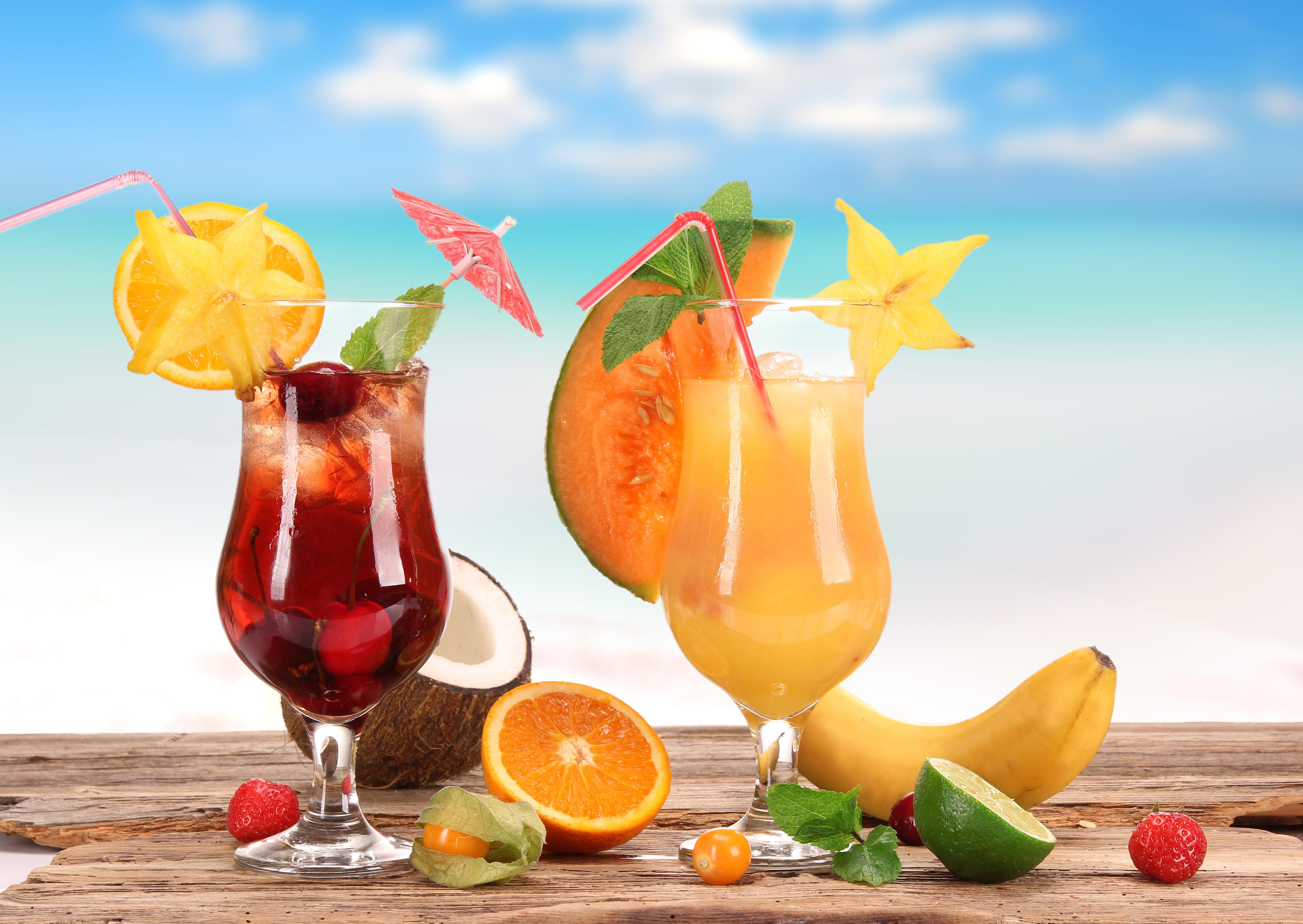 еда сок апельсины клубника кокос коктейль скачать