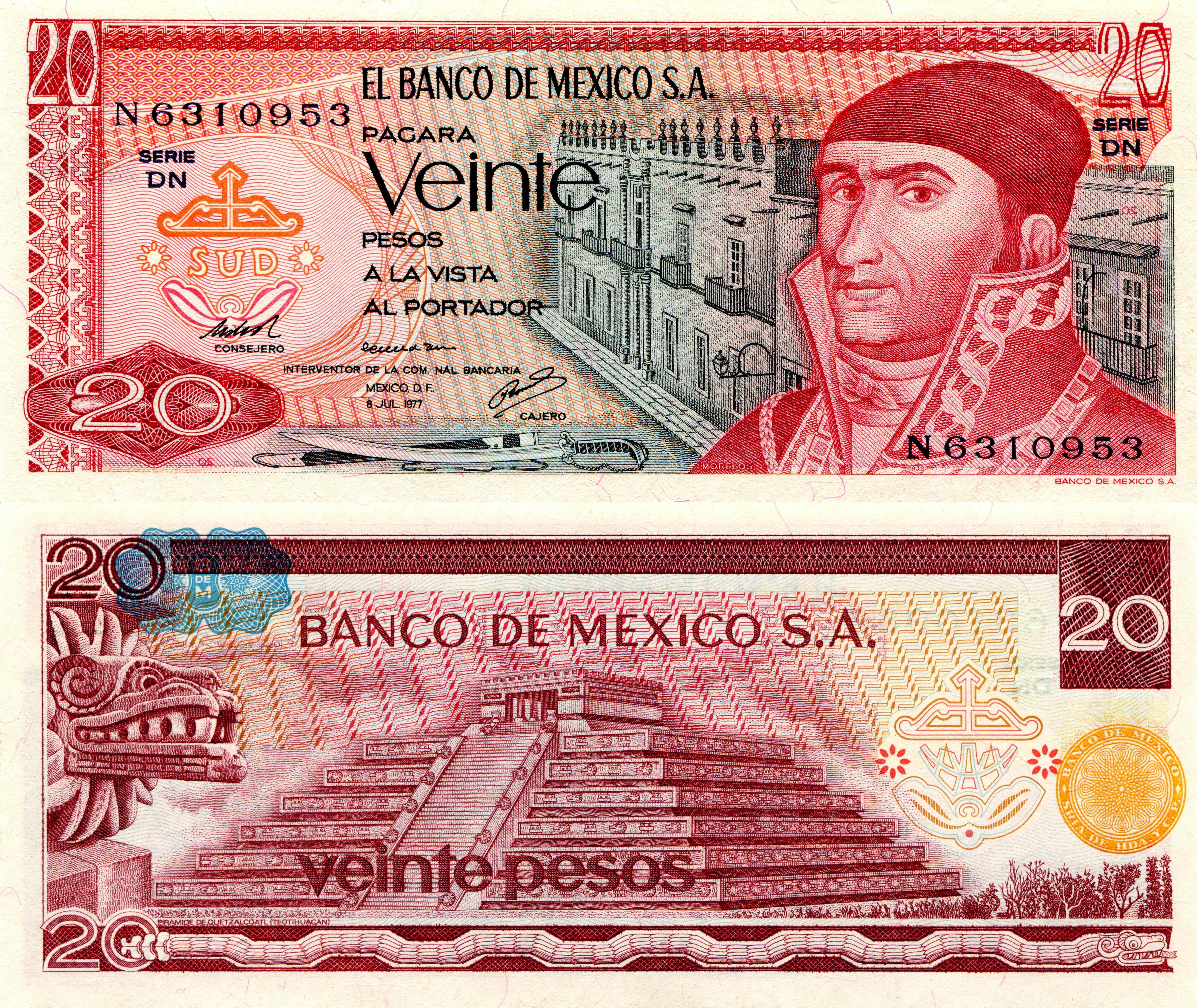 Фотография Купюры Мексика 20 pesos Деньги 7365x6205 Банкноты
