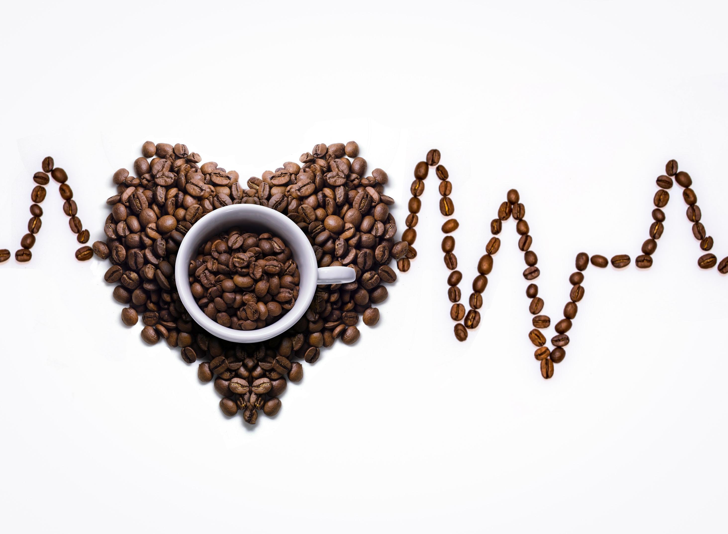 Картинка сердечко Кофе Зерна кружке Продукты питания Белый фон 2927x2149 серце Сердце сердца зерно Еда Пища кружки Кружка белом фоне белым фоном