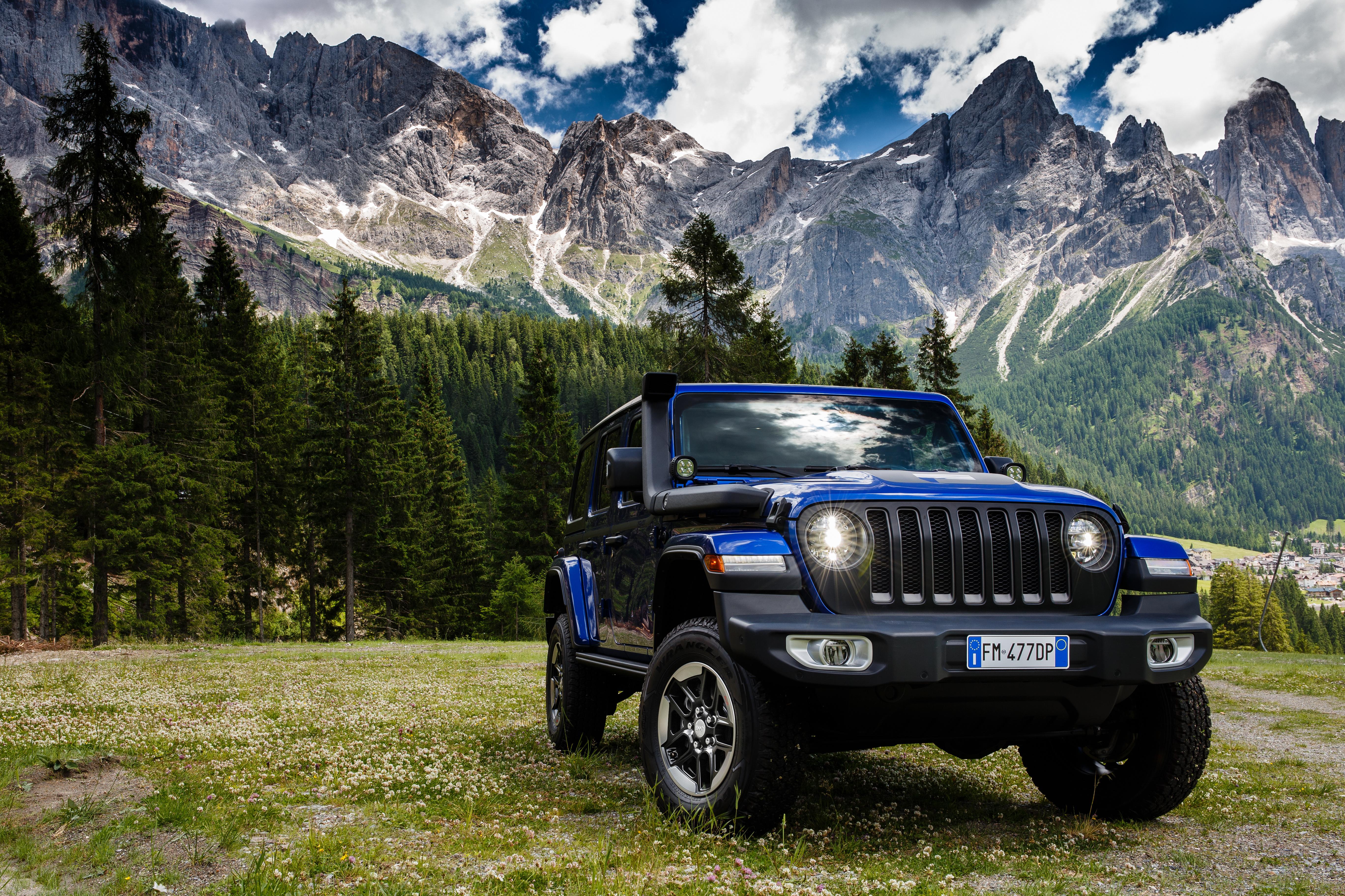 Обои для рабочего стола Jeep SUV 2019 Wrangler Unlimited Sahara 1941 by Mopar синих Автомобили 5472x3648 Джип Внедорожник синяя синие Синий авто машины машина автомобиль