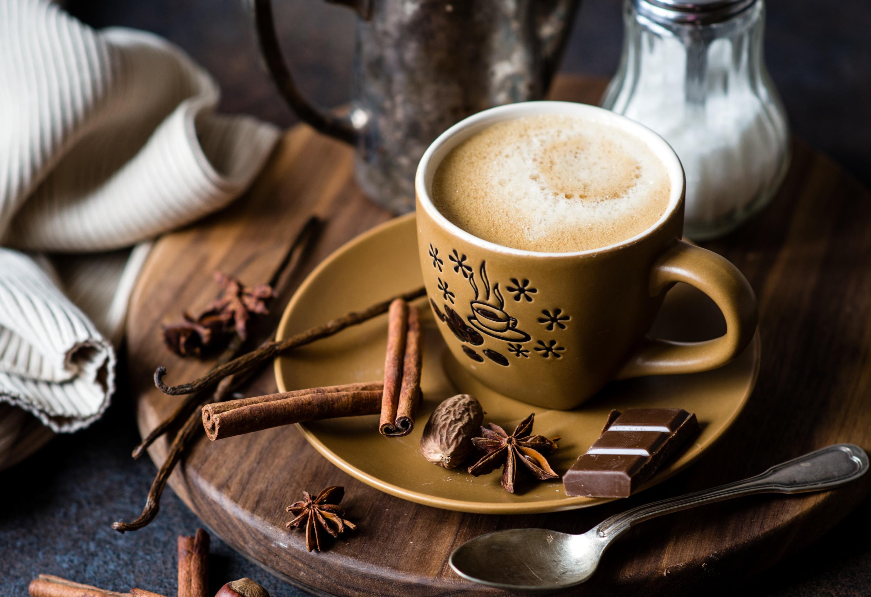 Фото Шоколад Кофе Корица Еда Чашка ложки блюдца Пища чашке Ложка Блюдце Продукты питания