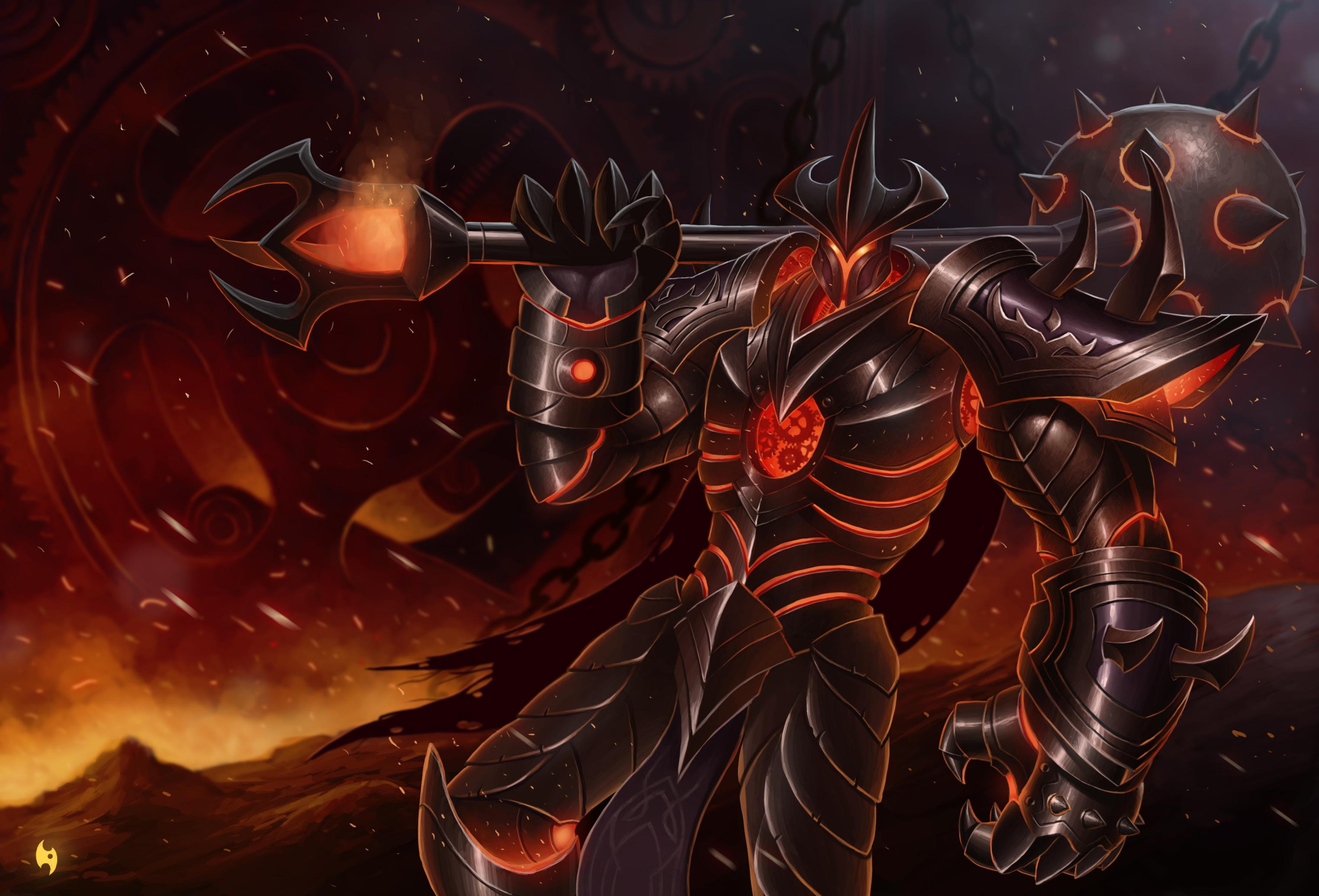 Картинки League of Legends Доспехи воин mordekaiser Master of Metal Фэнтези компьютерная игра 3049x2072 LOL броня броне доспехе доспехах воины Воители Фантастика Игры