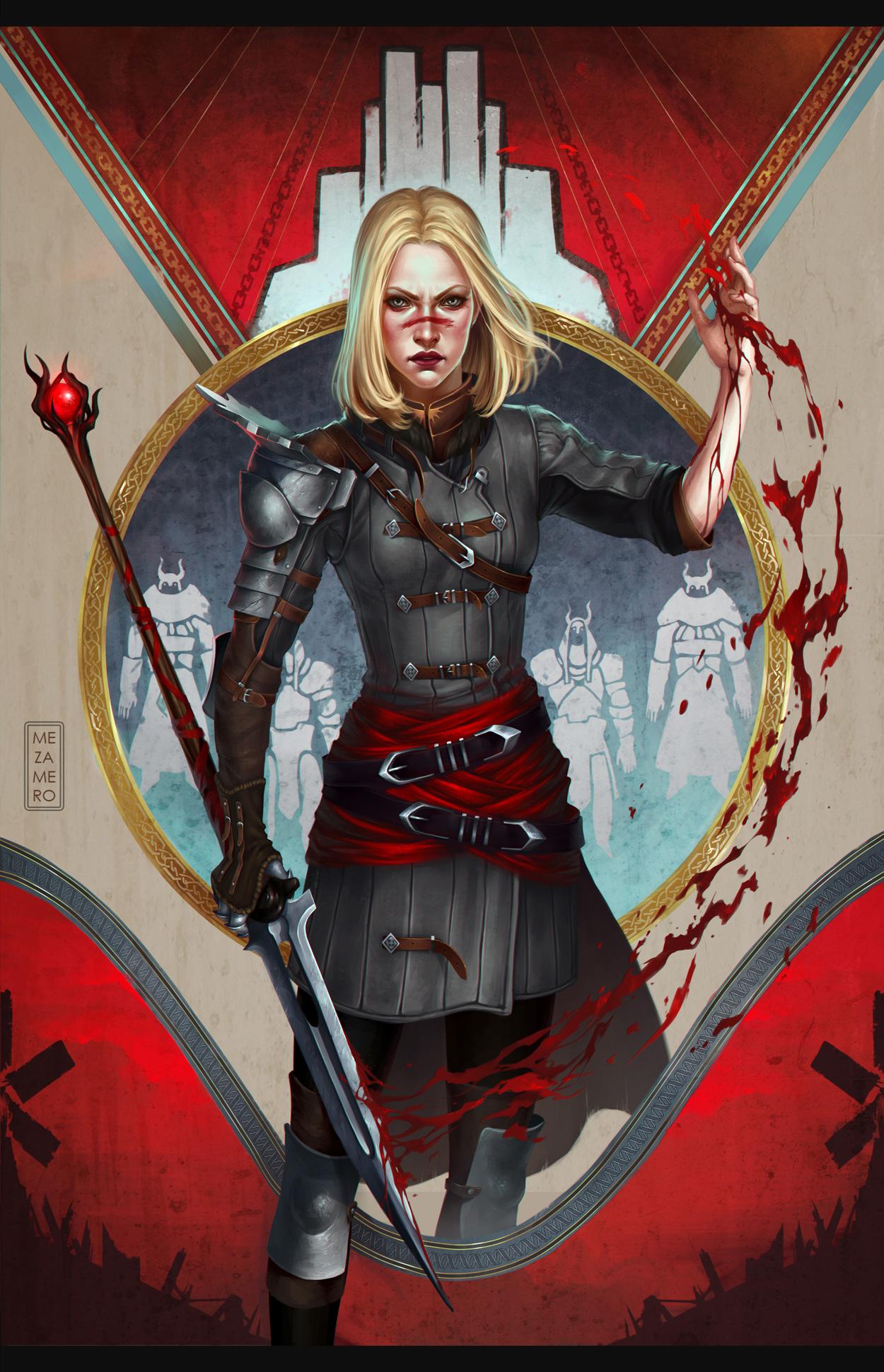 Обои Dragon Age Мечи Воители Кровь Mia Hawke Девушки Фантастика Игры воины Фэнтези
