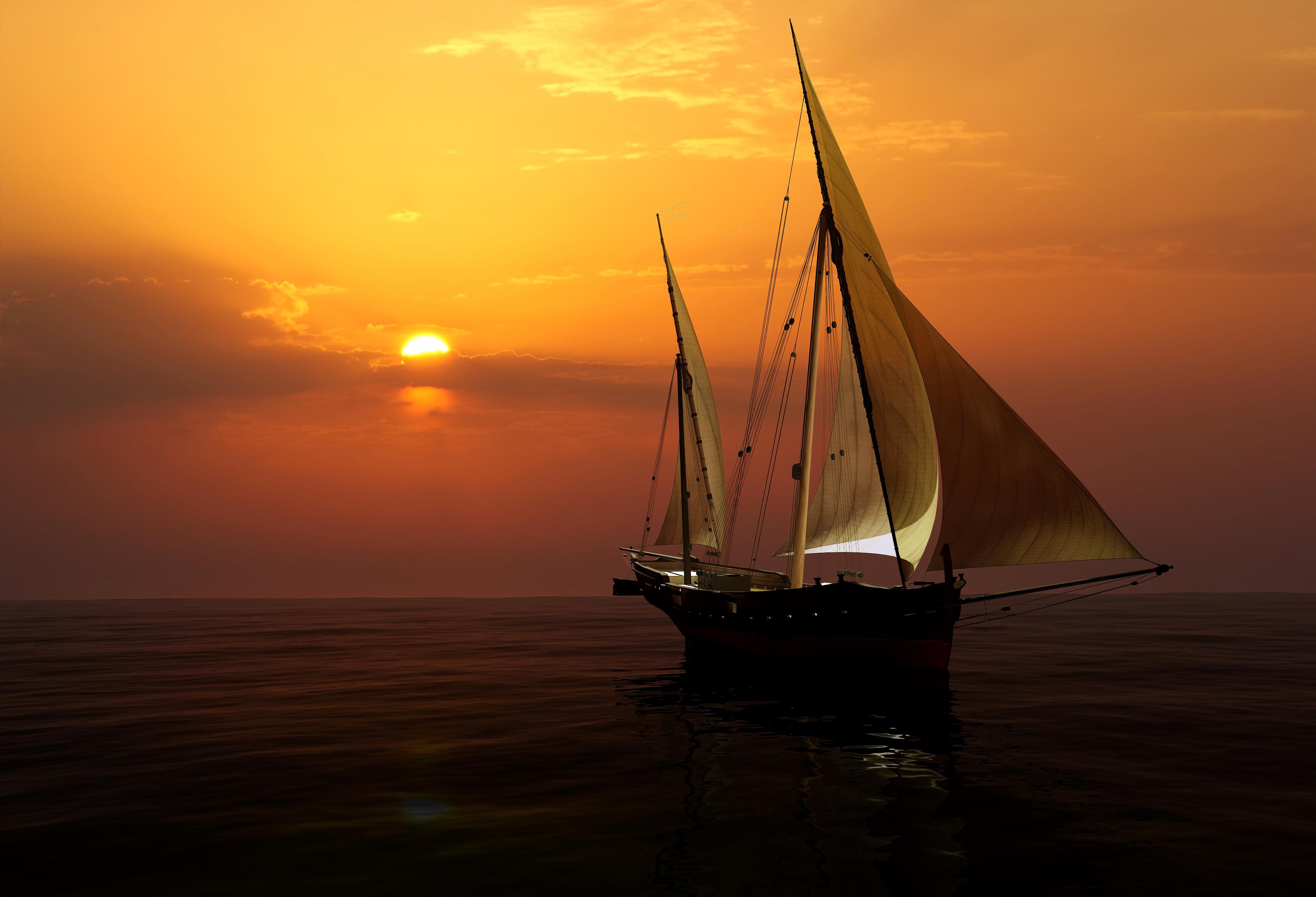 море солнце закат яхта без смс