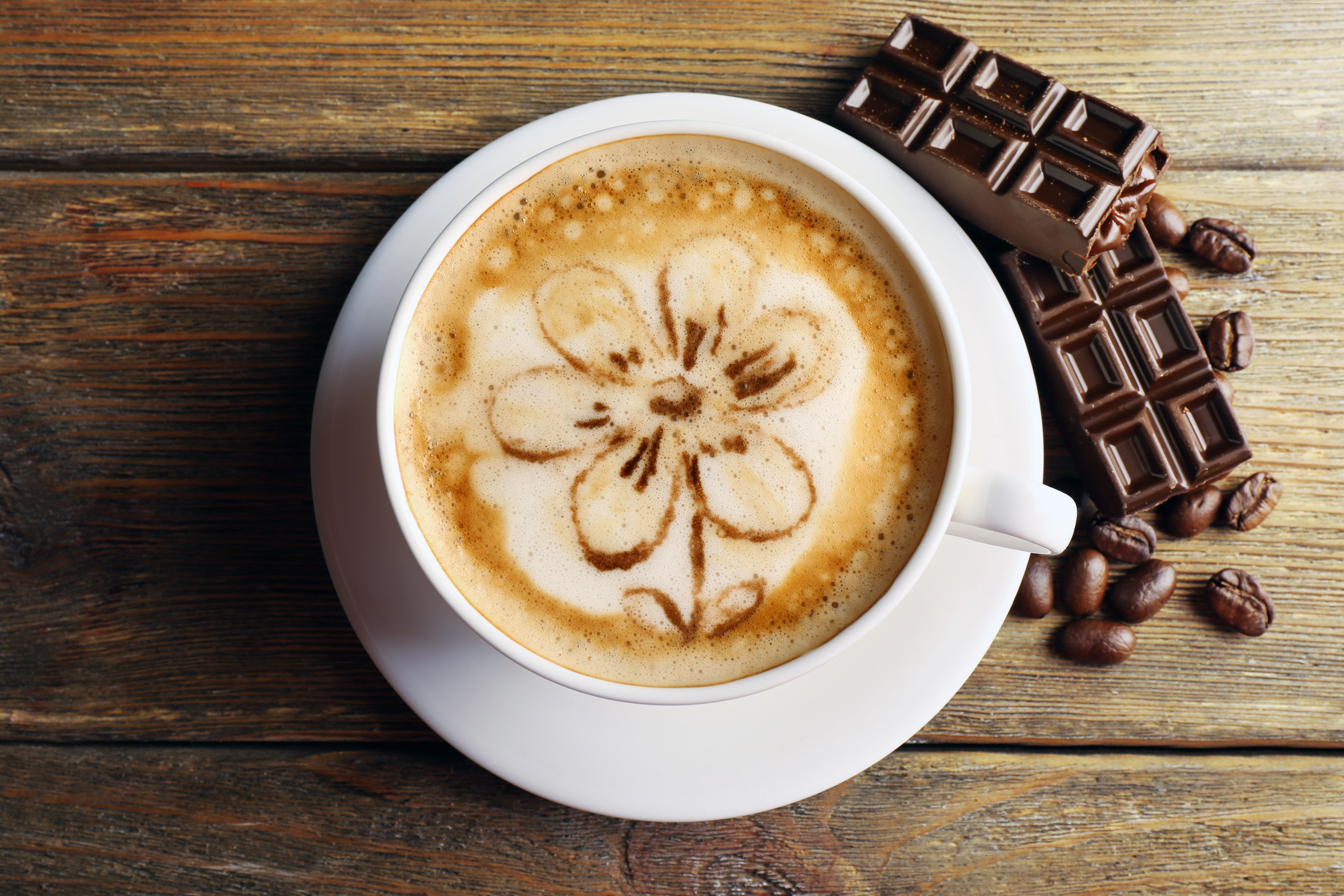 Фото Шоколад Кофе Капучино Зерна Еда чашке Доски 4200x2800 зерно Пища Чашка Продукты питания