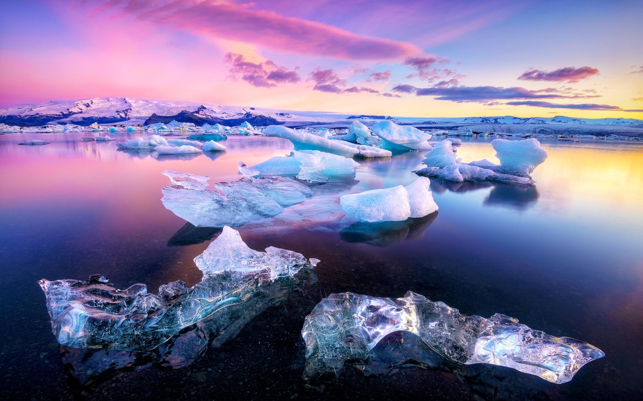 ледяные глыбы на закате без смс