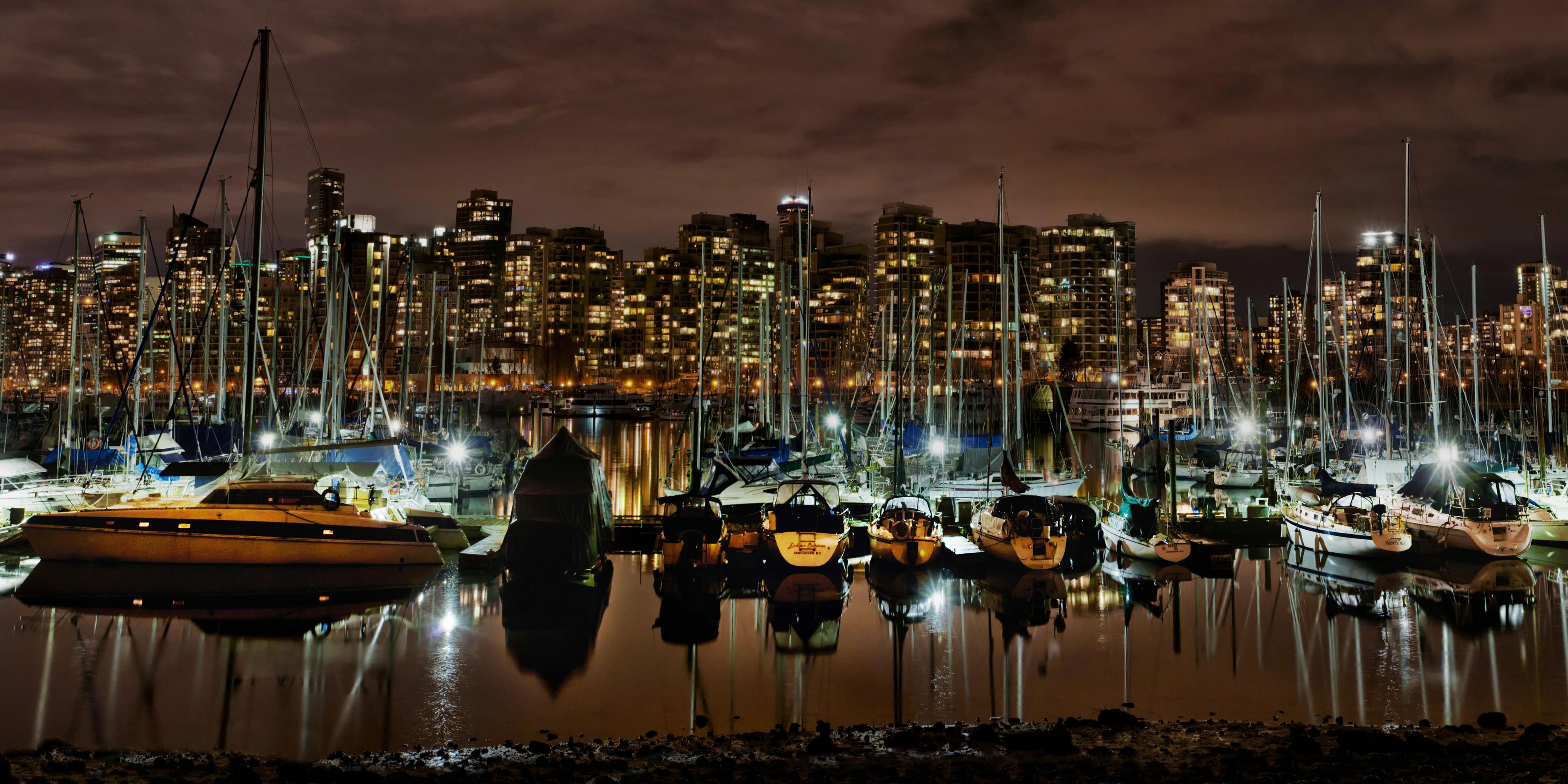 Обои Ванкувер Канада Залив Ночные Города 4000x2000 Ночь