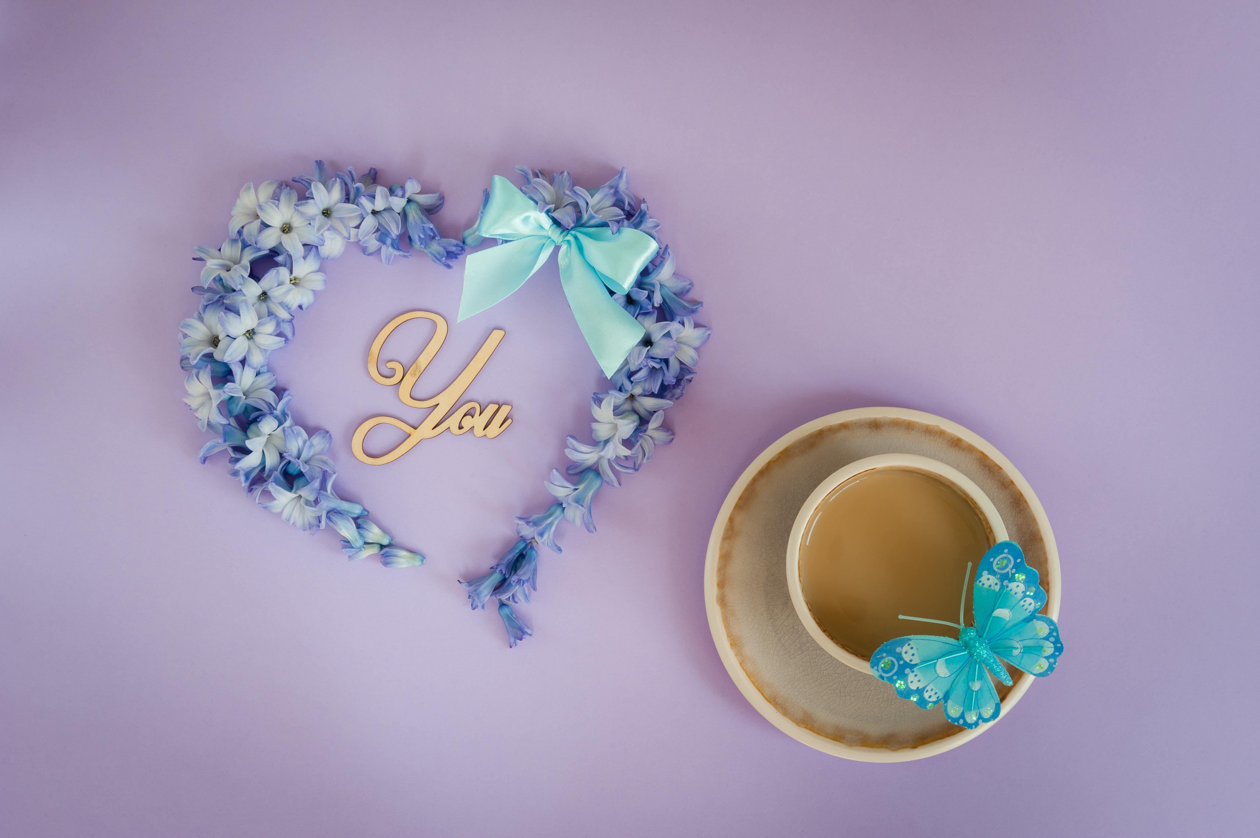 Обои для рабочего стола День святого Валентина бабочка Сердце чашке Бантик День всех влюблённых Бабочки серце сердца сердечко бант Чашка бантики