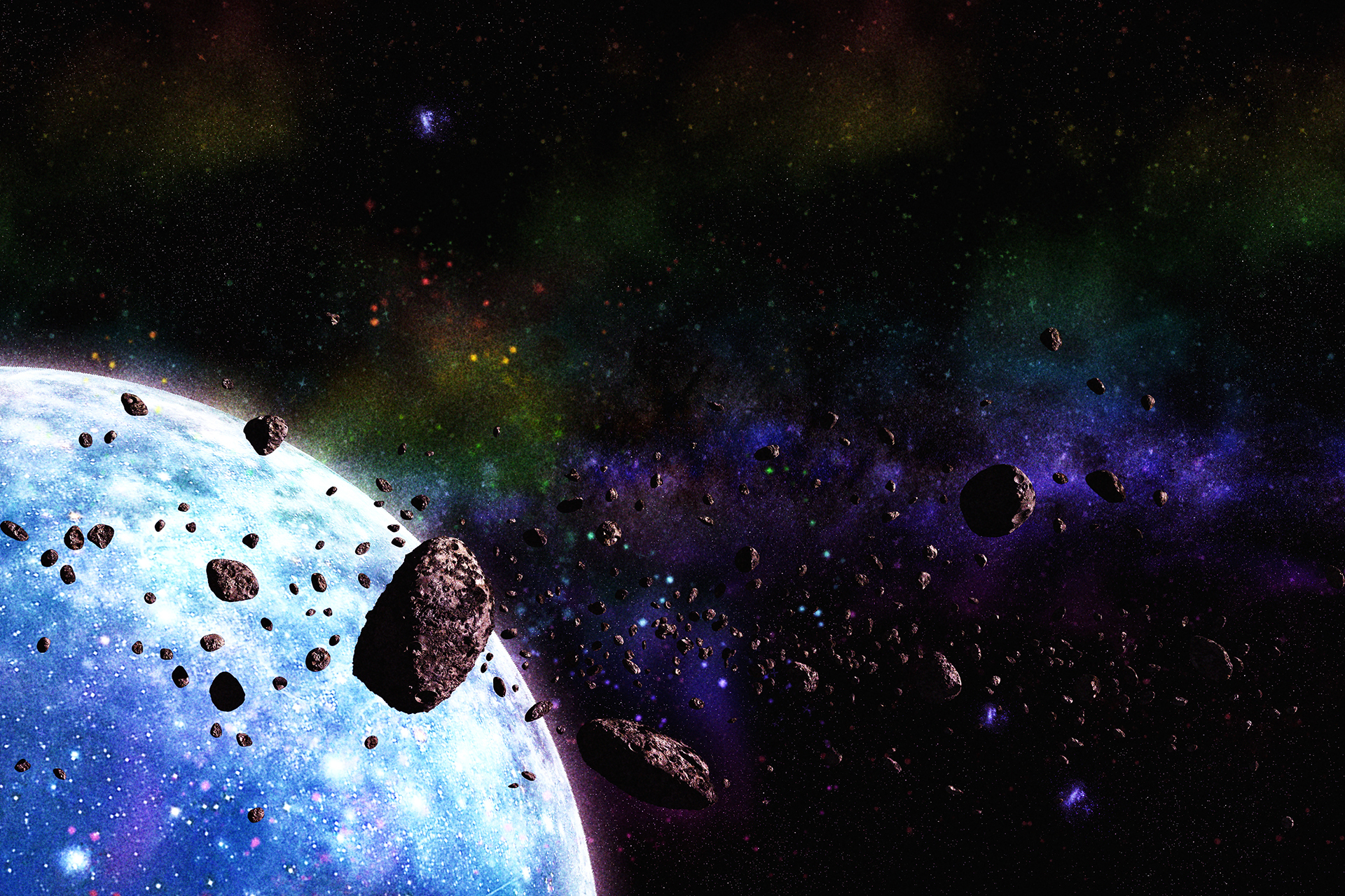 the asteroids in space - HD 1920×1280