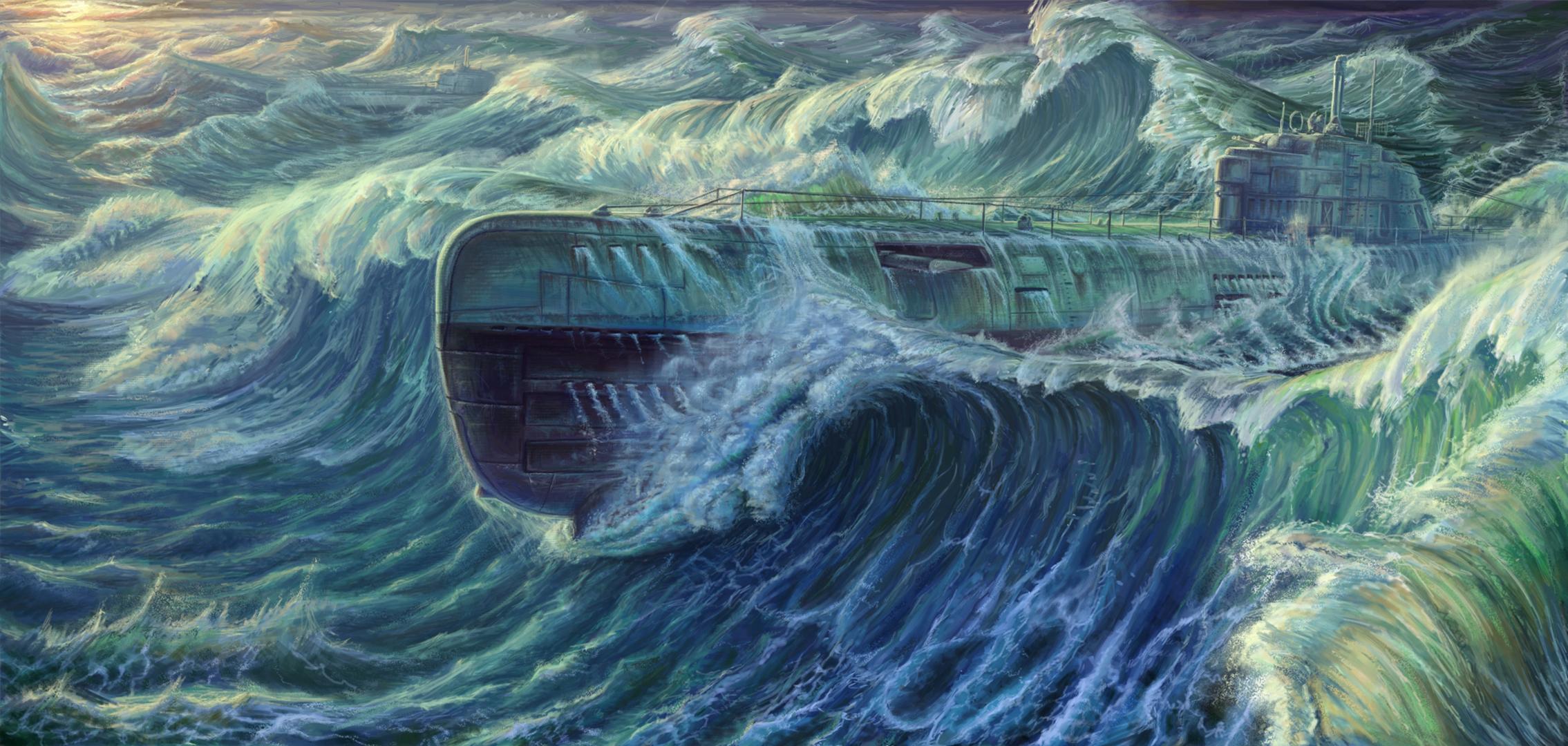 Обои для рабочего стола Подводные лодки Type XXI submarine Волны Рисованные Армия военные