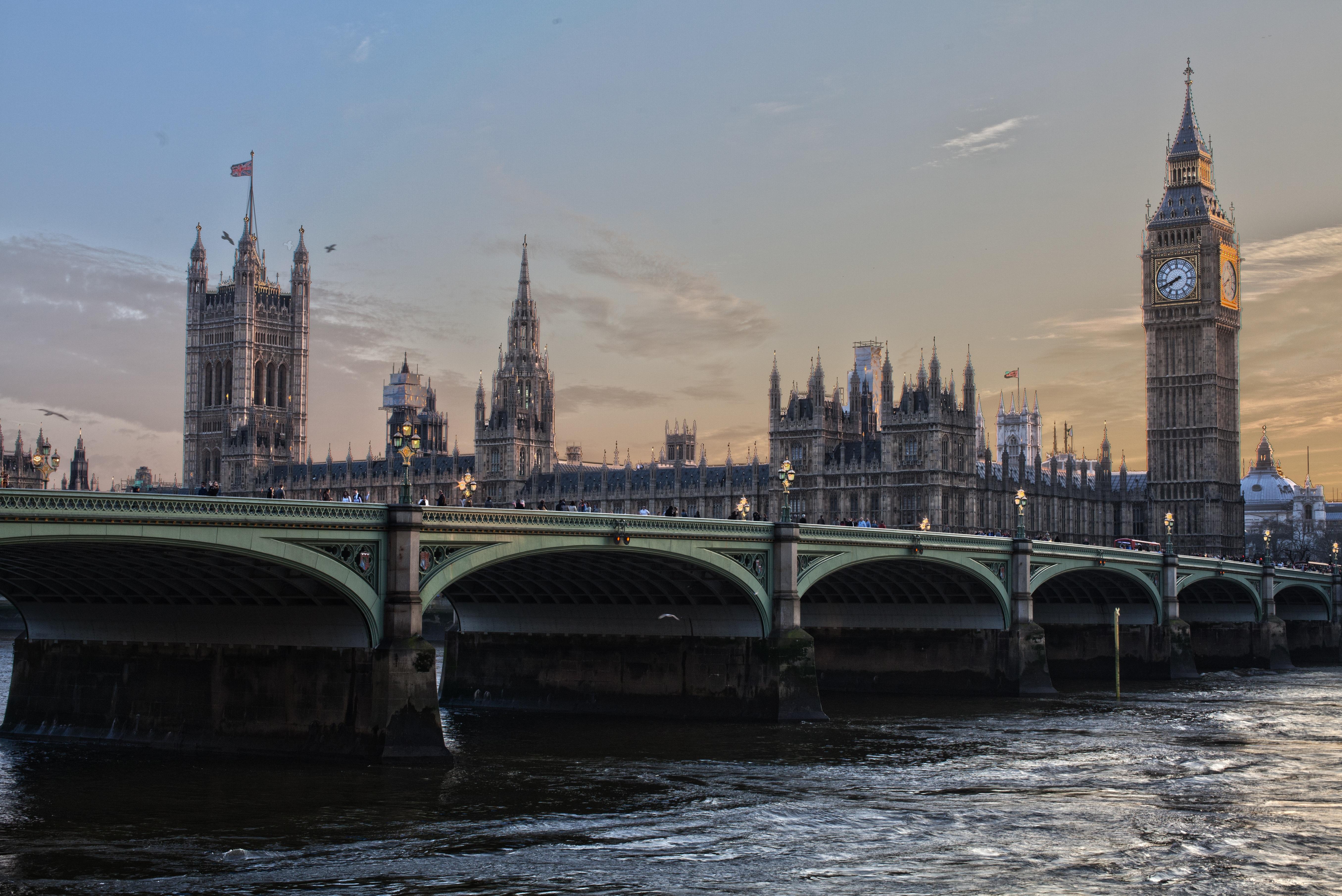 Обои Лондон Биг-Бен Англия Башня Мосты Города 5423x3622
