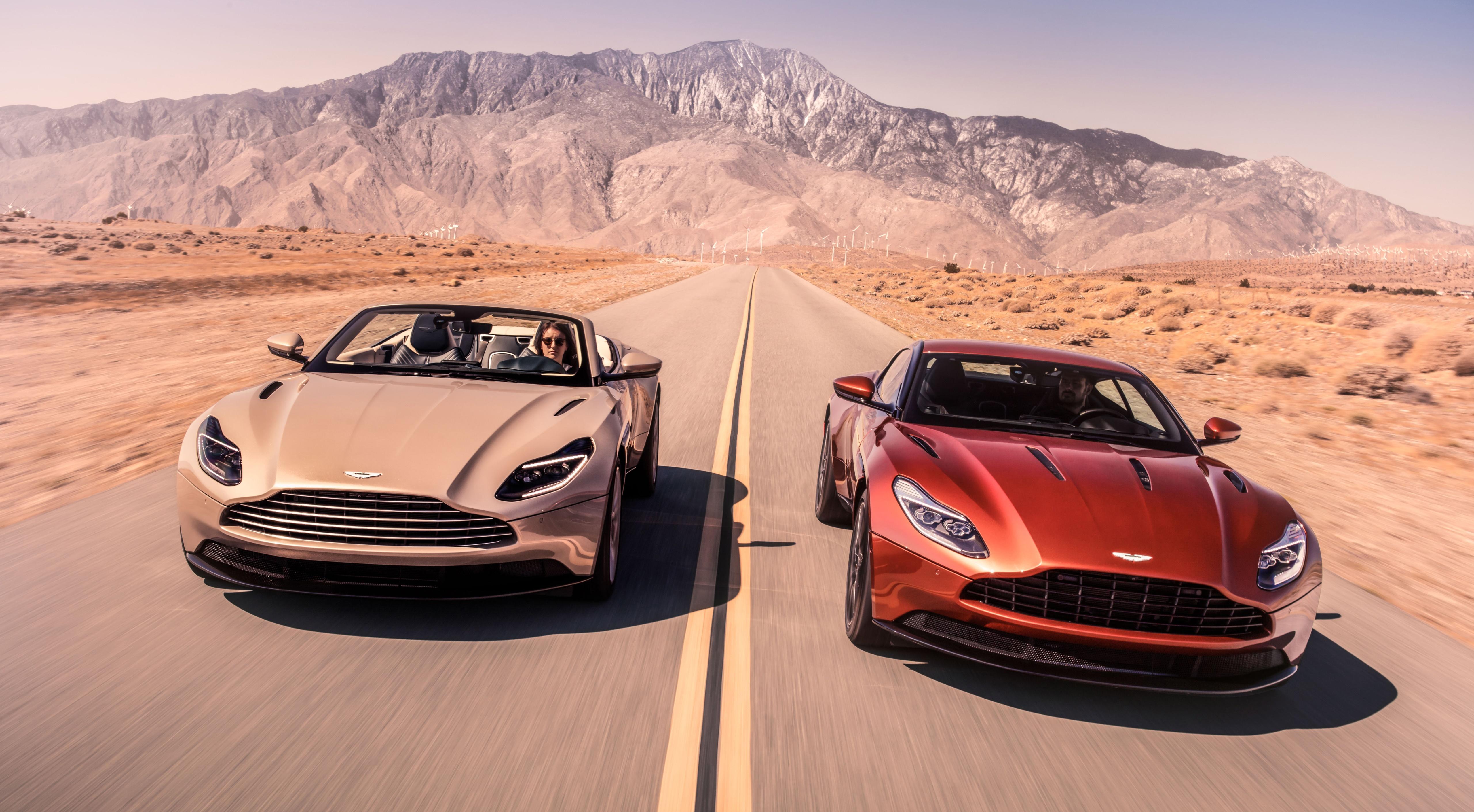 Фотографии Aston Martin DB11, V8, Volante, 2018 кабриолета 2 Дороги Движение машина 5120x2819 Астон мартин Кабриолет два две Двое вдвоем едет едущий едущая скорость авто машины Автомобили автомобиль