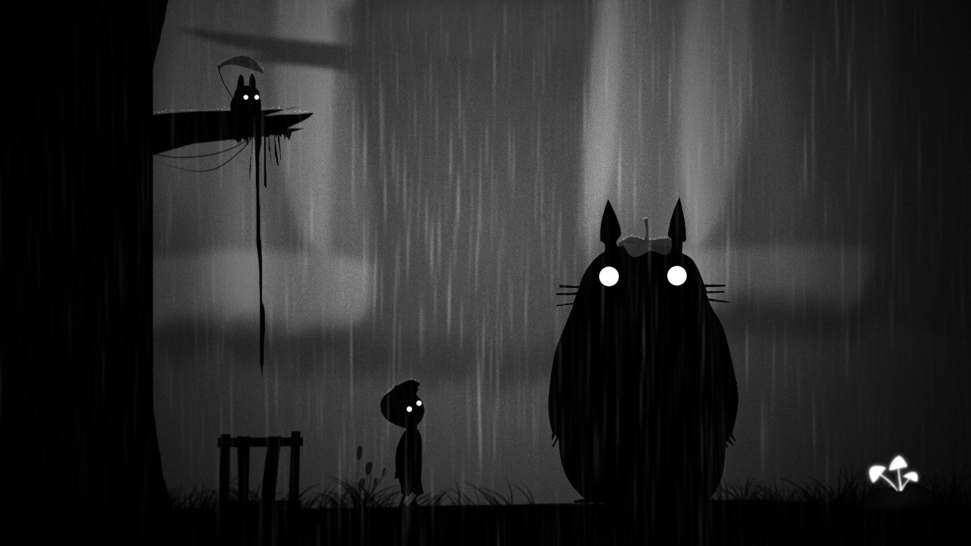 Картинки Мальчики Монстры Limbo, Totoro ребёнок Фэнтези Мультики Дождь Ночь мальчик мальчишка мальчишки монстр чудовище Дети мультик Фантастика Мультфильмы ночью в ночи Ночные