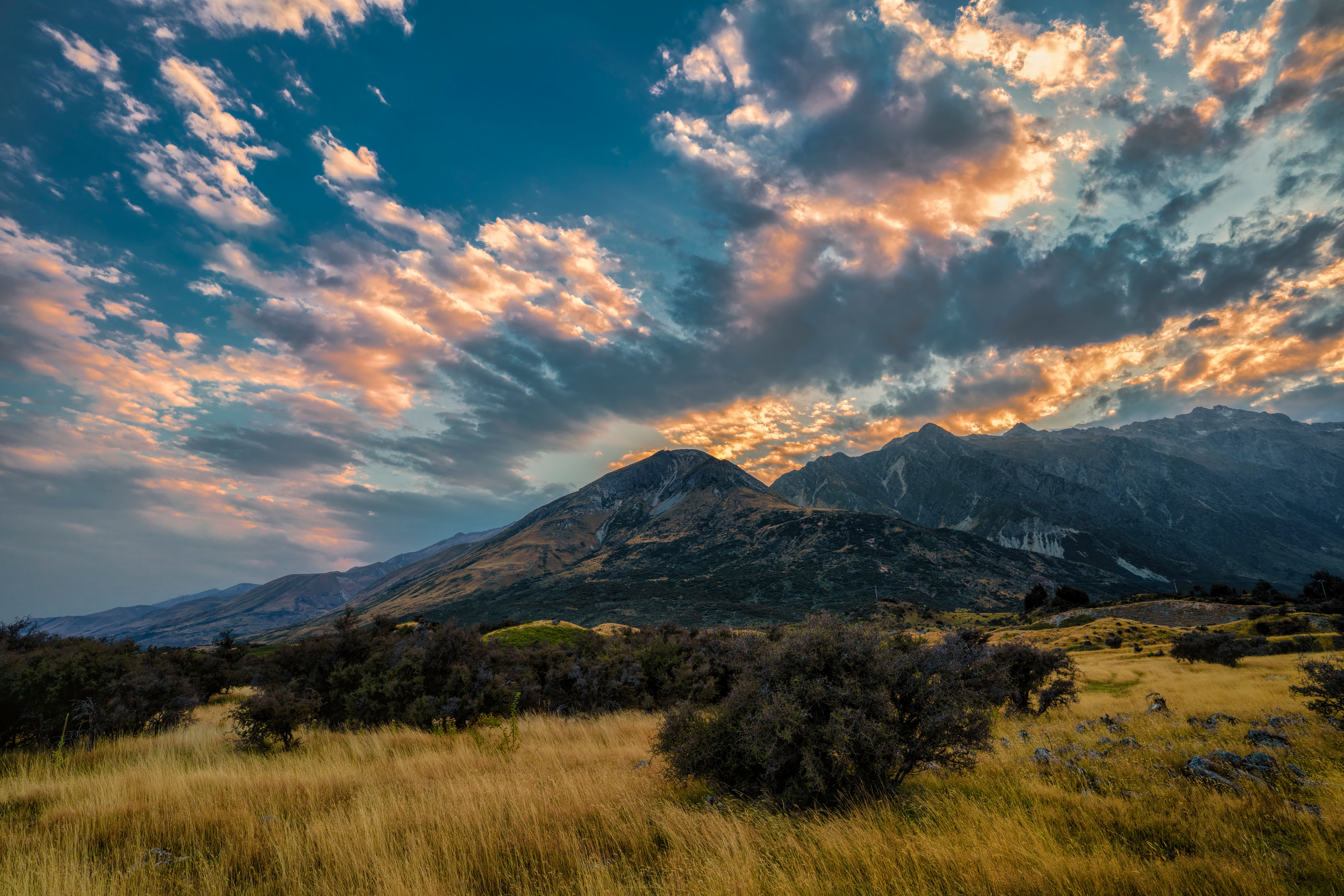 Фотографии Новая Зеландия Aoraki National Park гора Природа Небо Парки Облака 5120x3415 Горы парк облако облачно