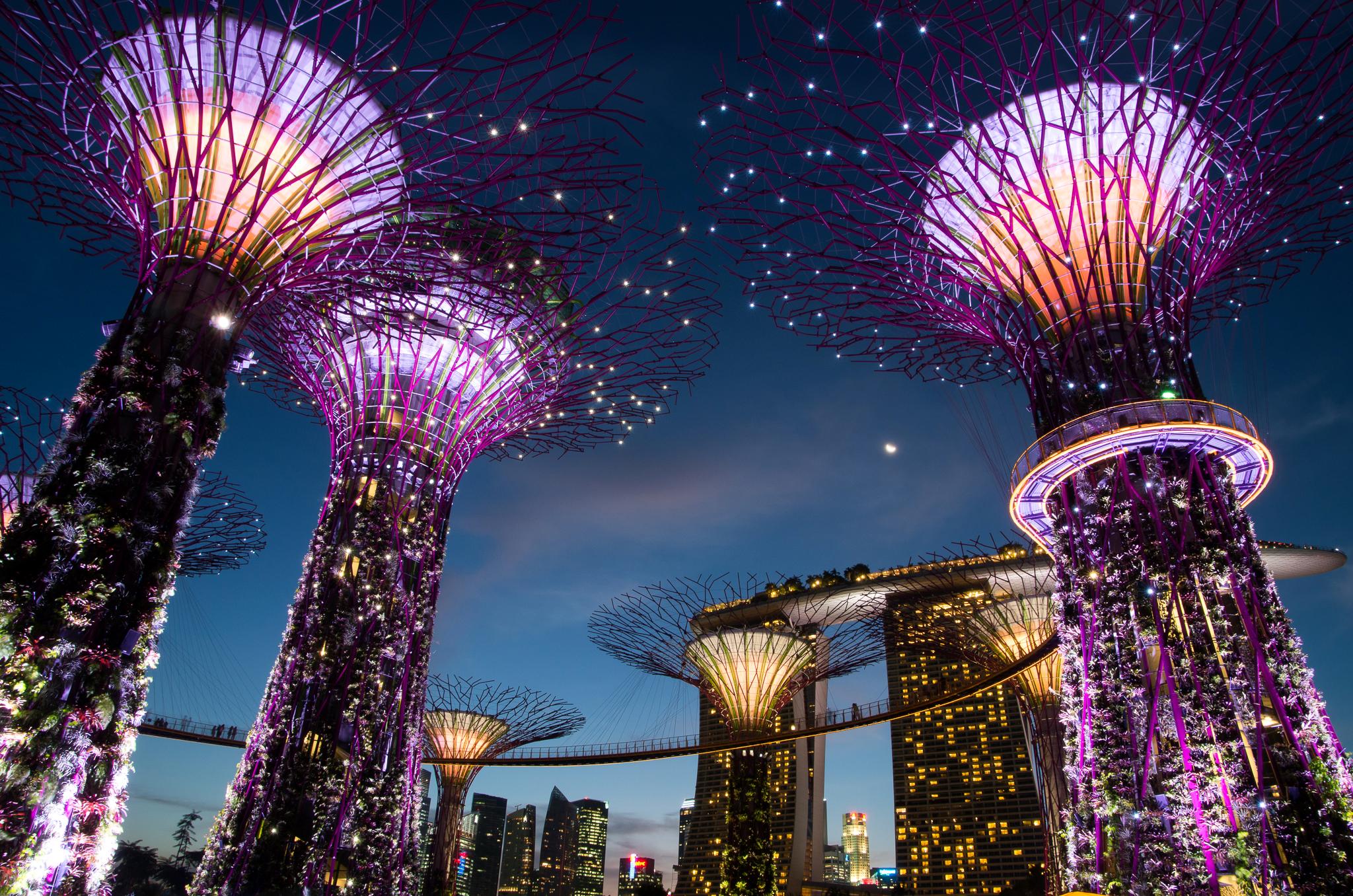 Сингапур ночь освещение бесплатно