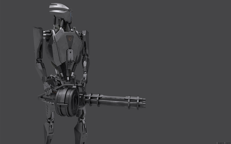 Фотографии робота Пулеметы Eduard Pronin, minigun 3д Фантастика Серый фон Робот роботы пулемет Фэнтези 3D Графика сером фоне