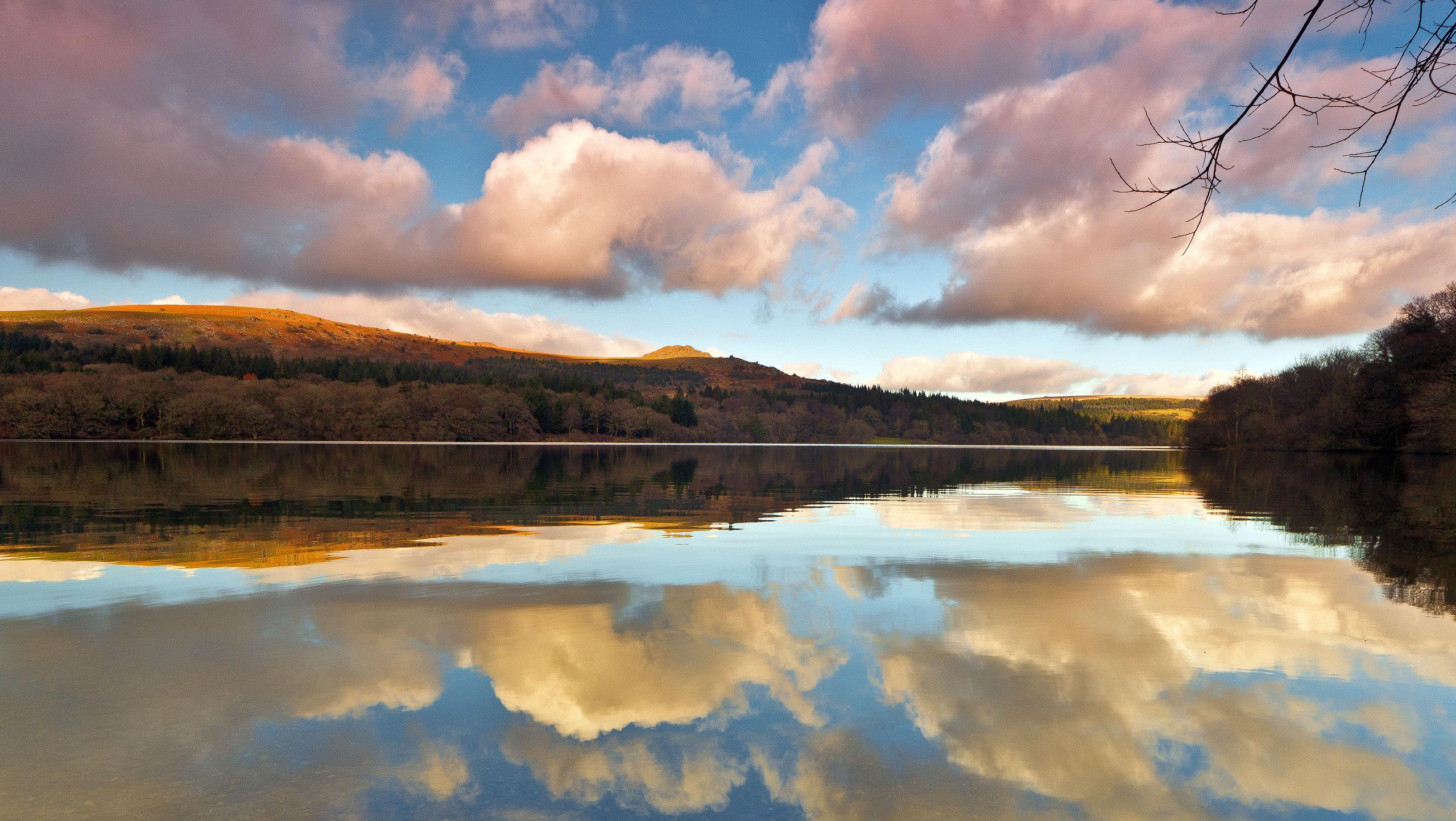 природа отражение озеро облака без смс